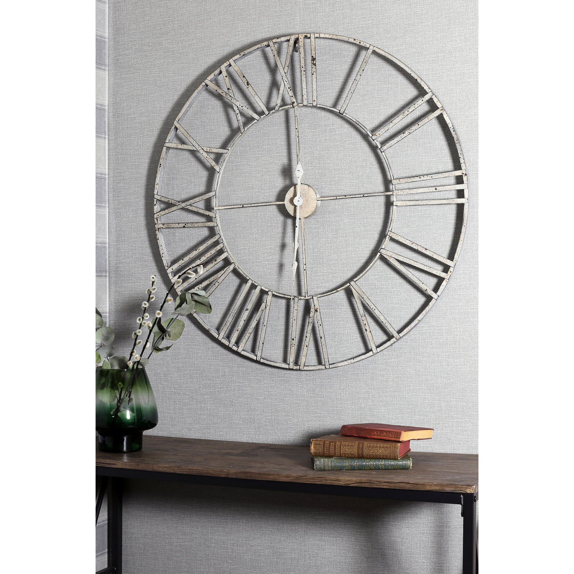 Image of Distressed Silver Metal Clock