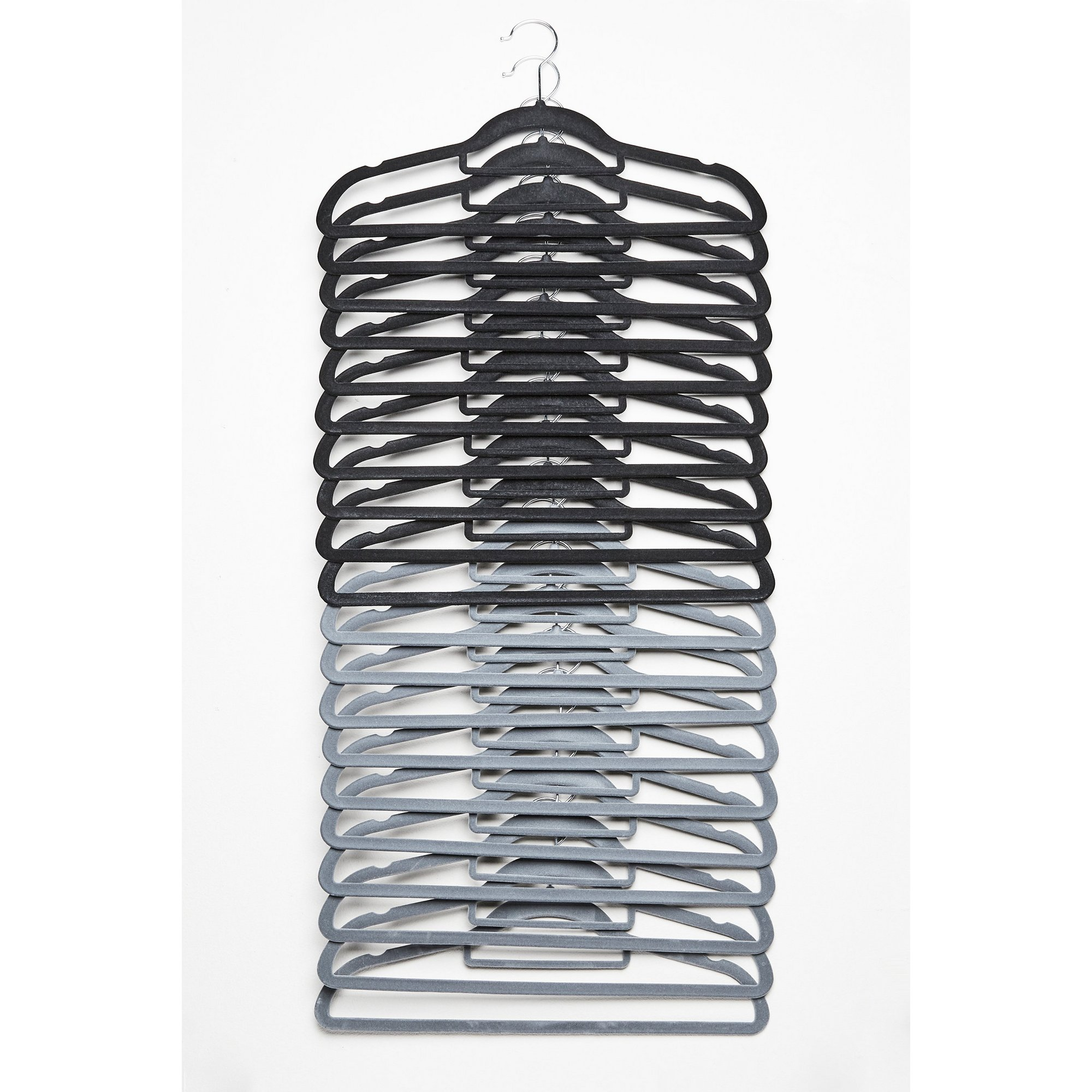 Image of 20 Velvet Grey and Black Clothes Hangers