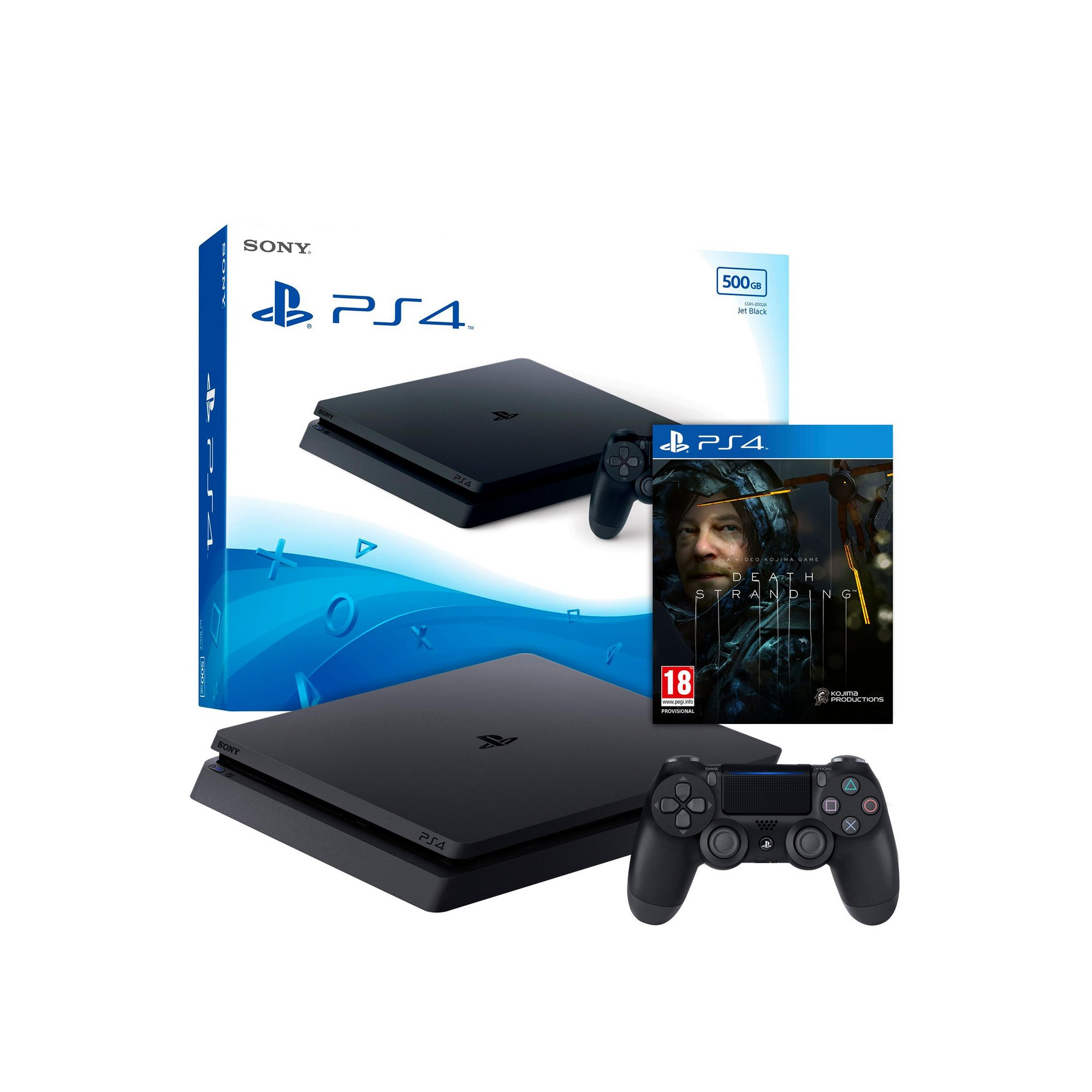 Image of 500GB Black PS4 Console with Death Stranding