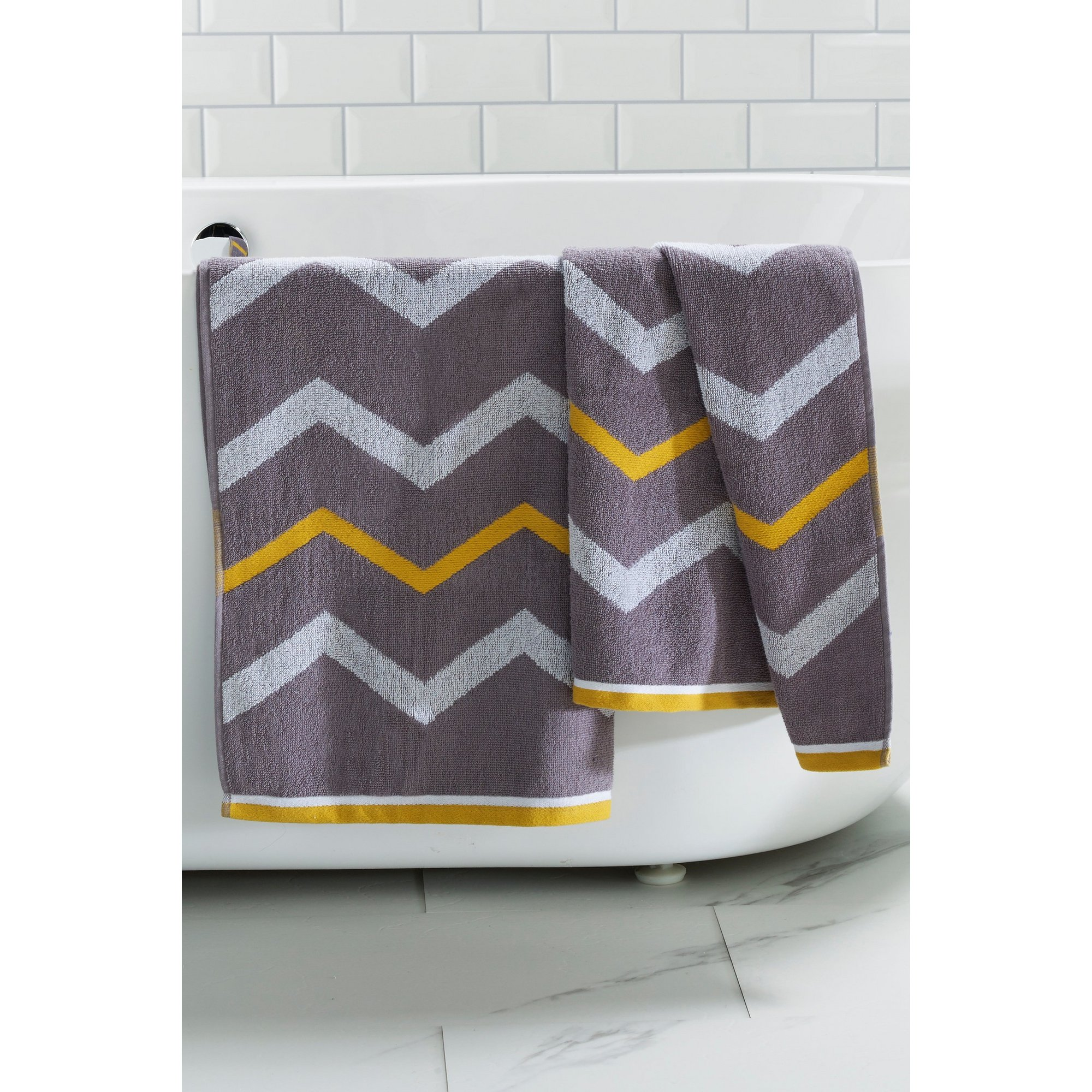 Image of Grey and Ochre Chevron Towels