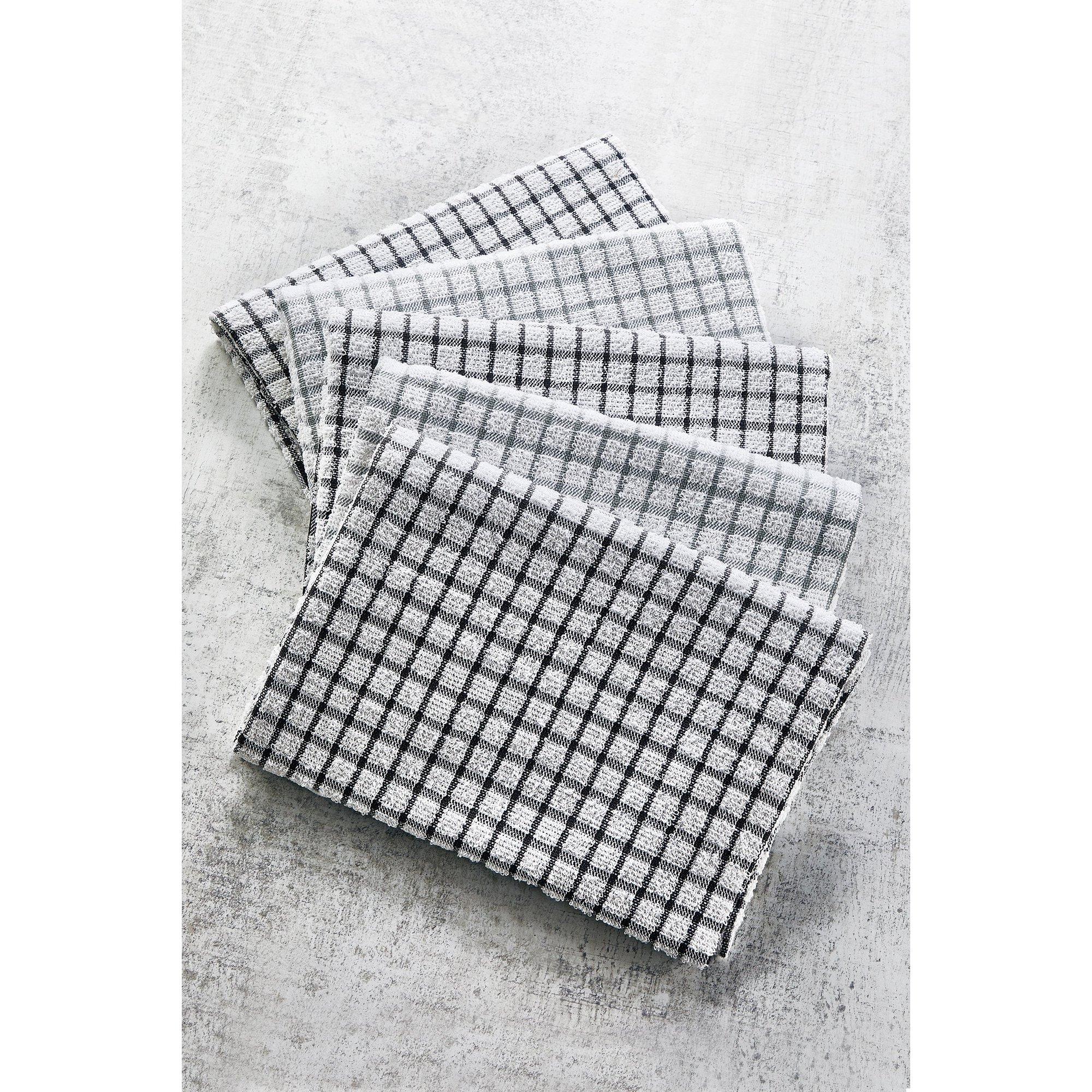 Image of 5 Pack Grey Check Terry Tea Towels