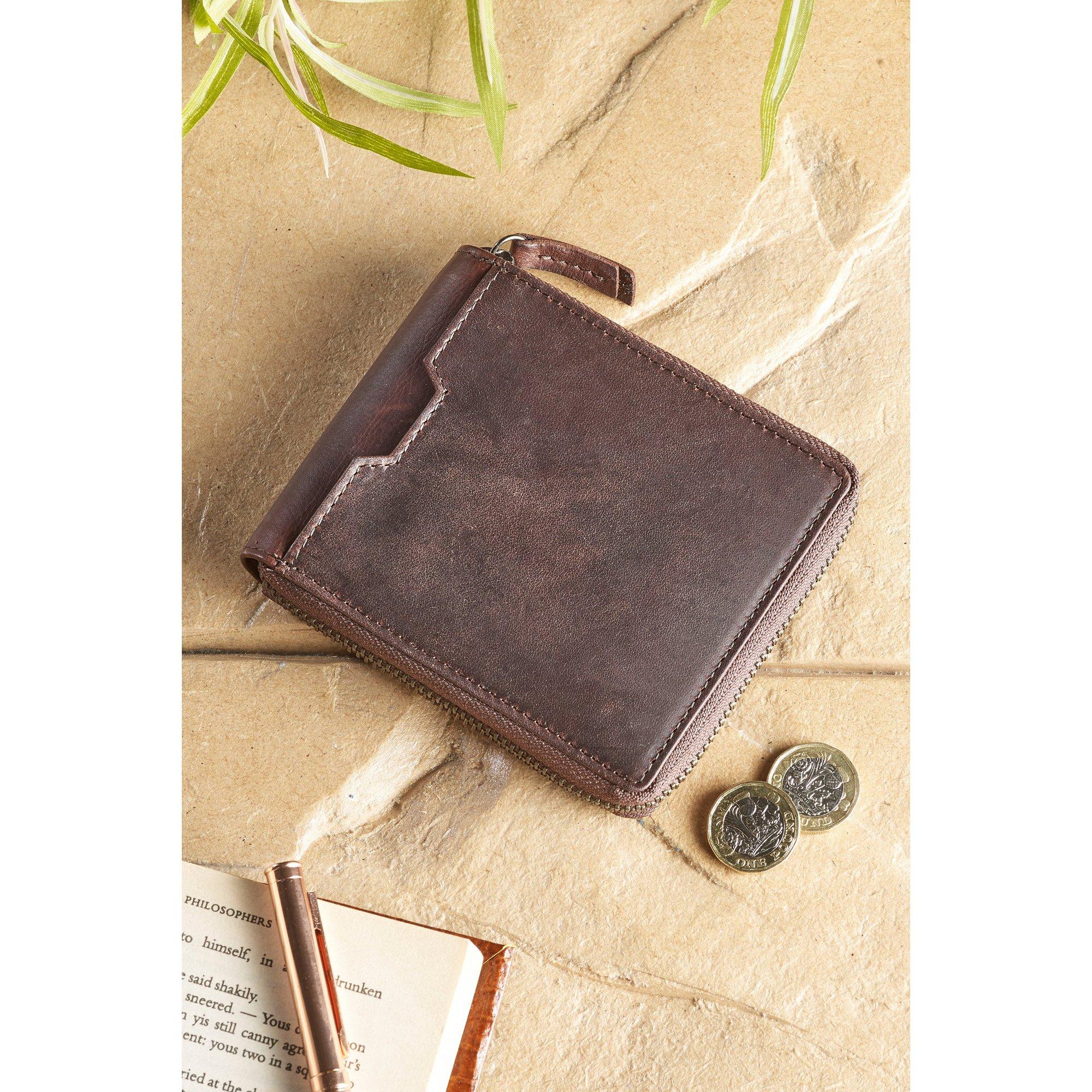 Image of Alperto Collection RFID Zip Around Wallet in Brown
