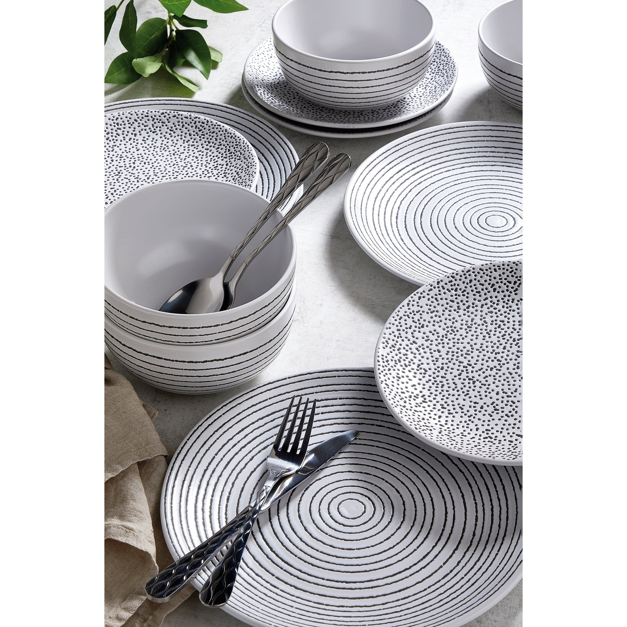 Image of 12 Piece Pad Print Mix and Match Dinner Set