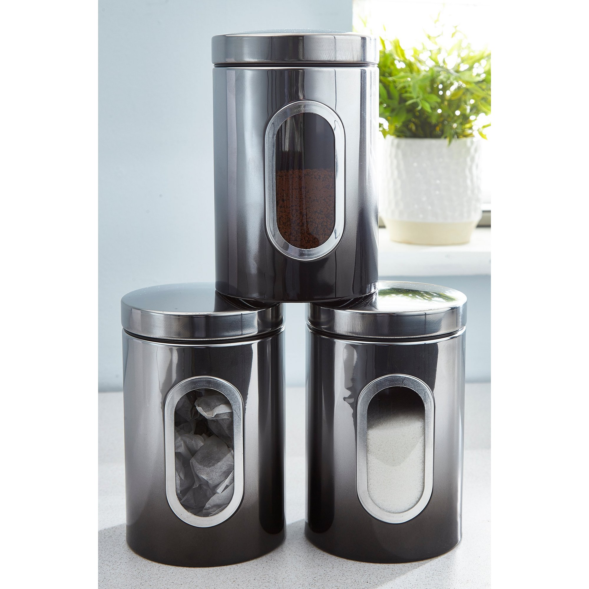 Image of Callisto Set of 3 Black Ombre Canisters