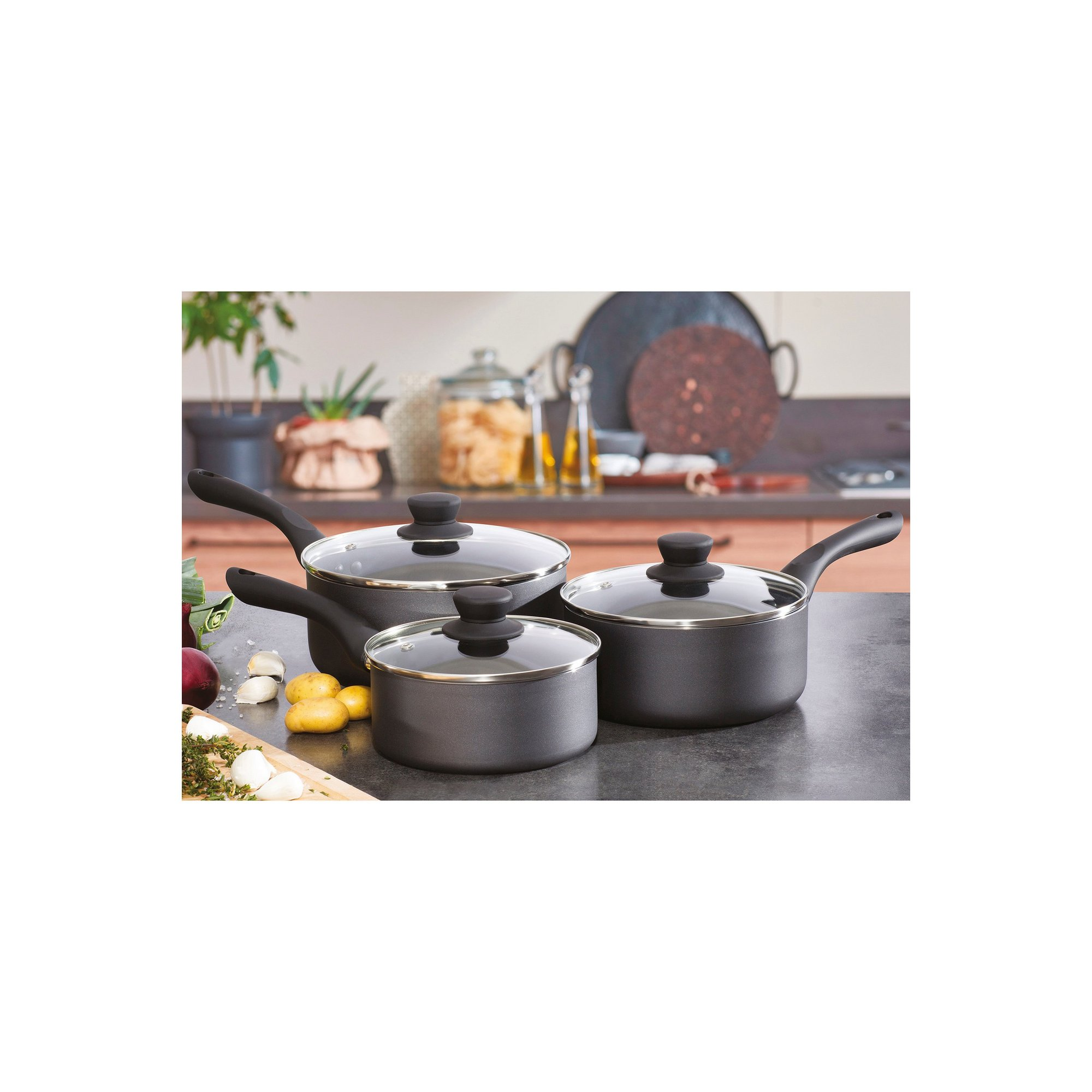 Image of 3 Piece Pro-Chef Pressed Aluminium Sauce Pan Set