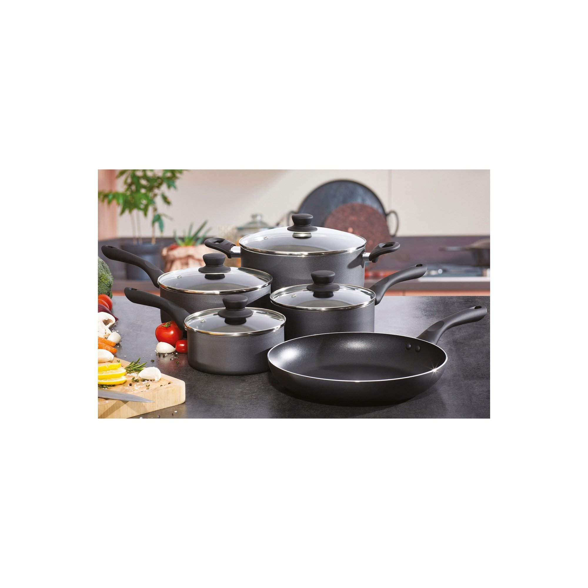 Image of 5 Piece Pro-Chef Pressed Aluminium Pan Set