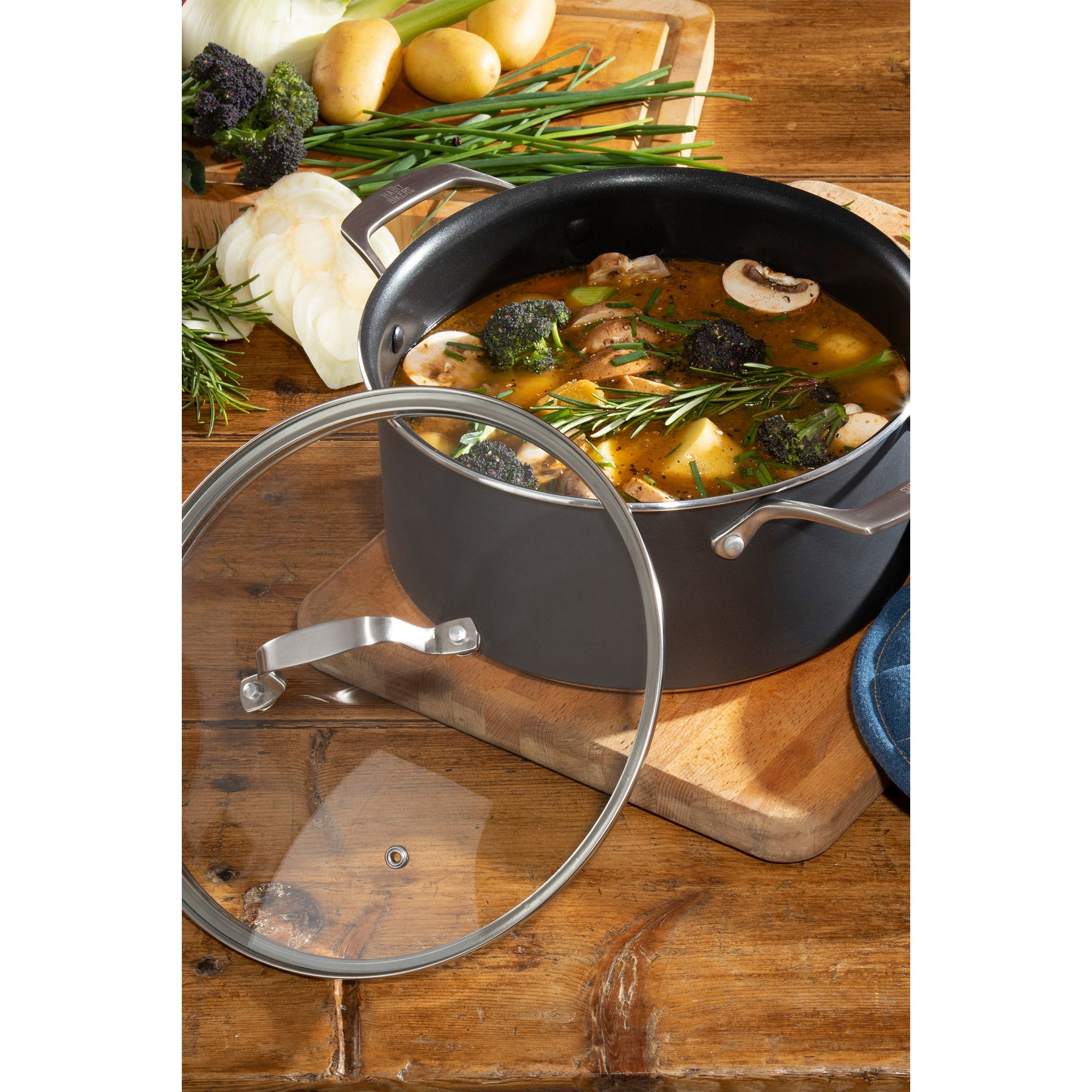 Image of Hairy Bikers 24cm Forged Casserole Pot with Lid