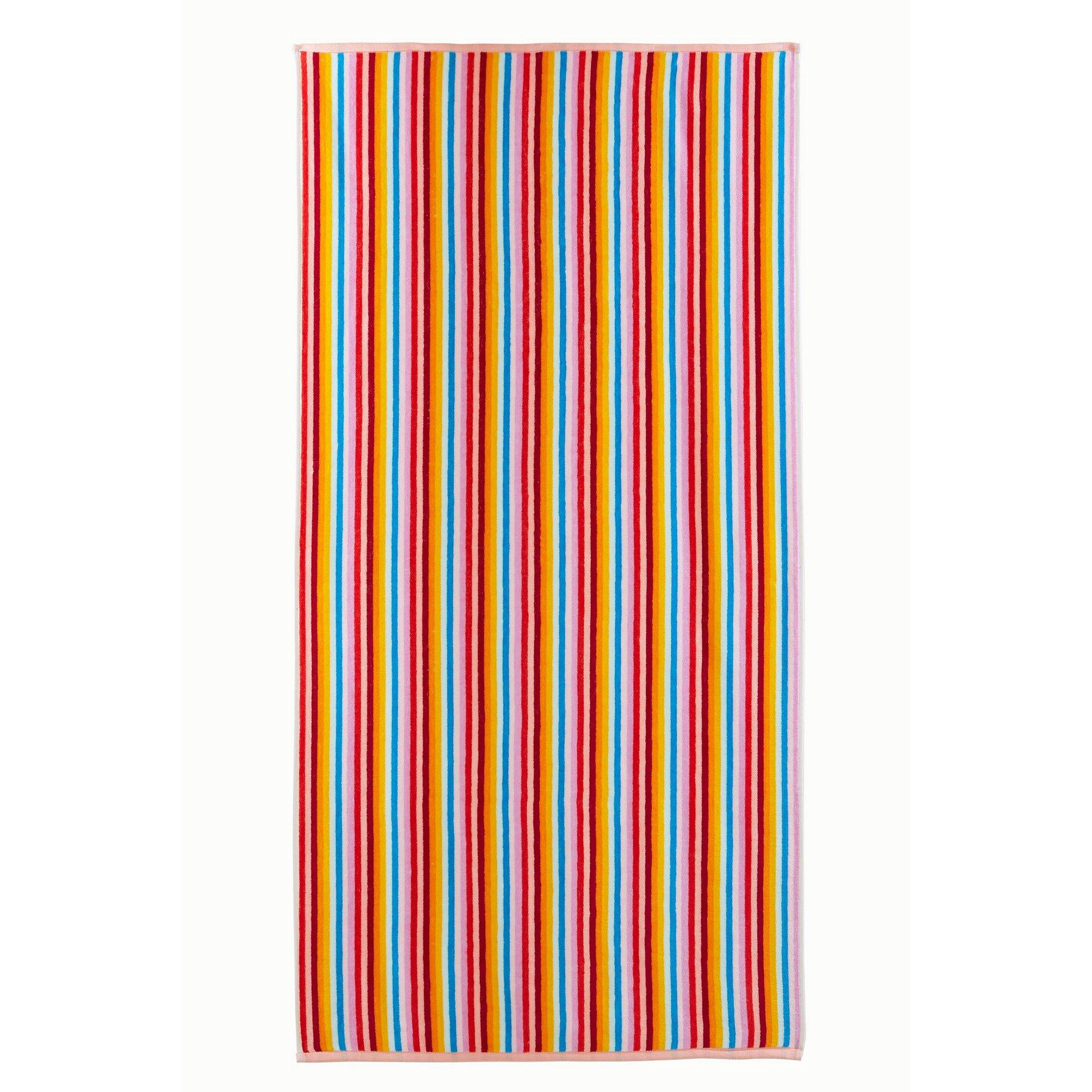 Image of Bright Stripe Velour Beach Towel