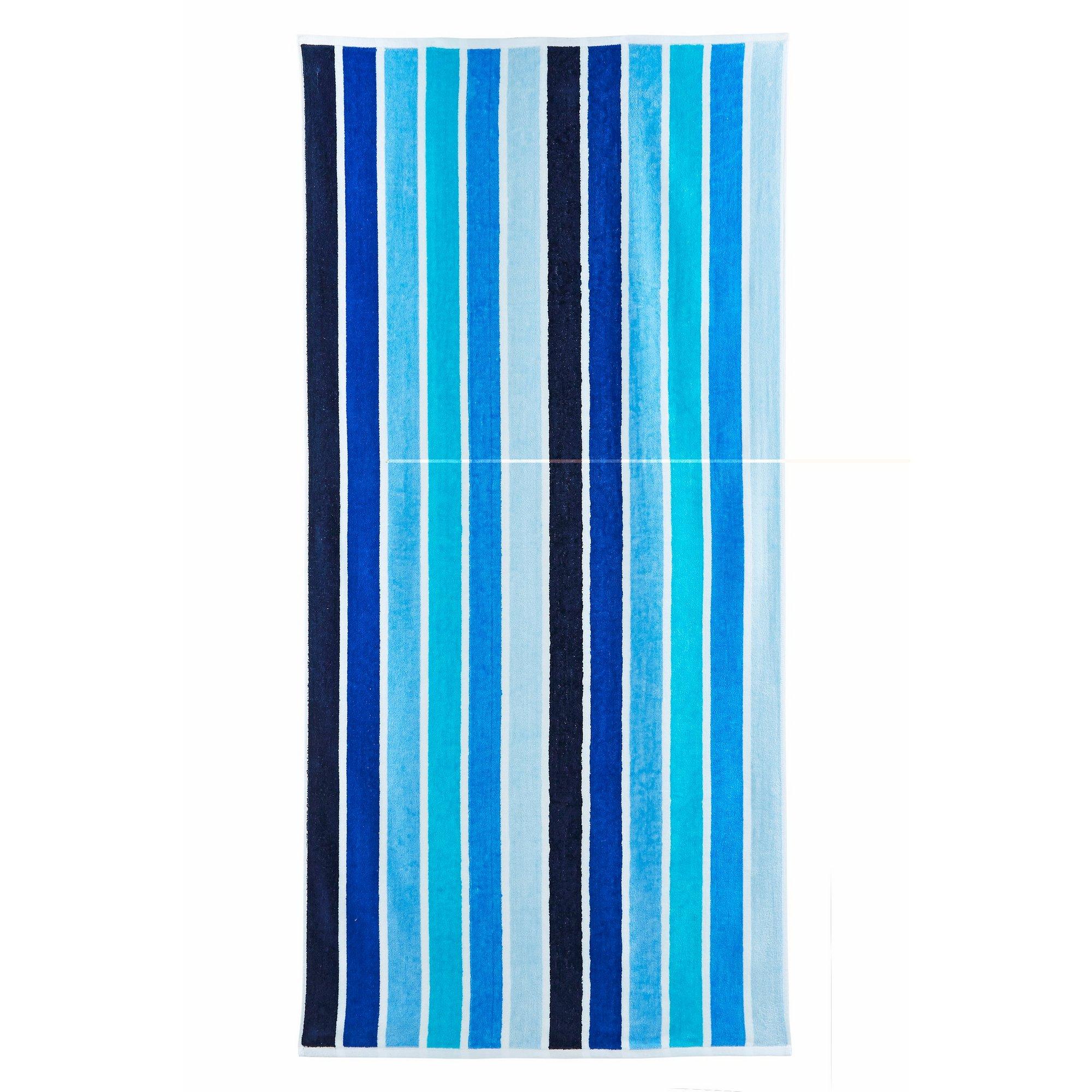 Image of Blue Stripe Velour Beach Towel