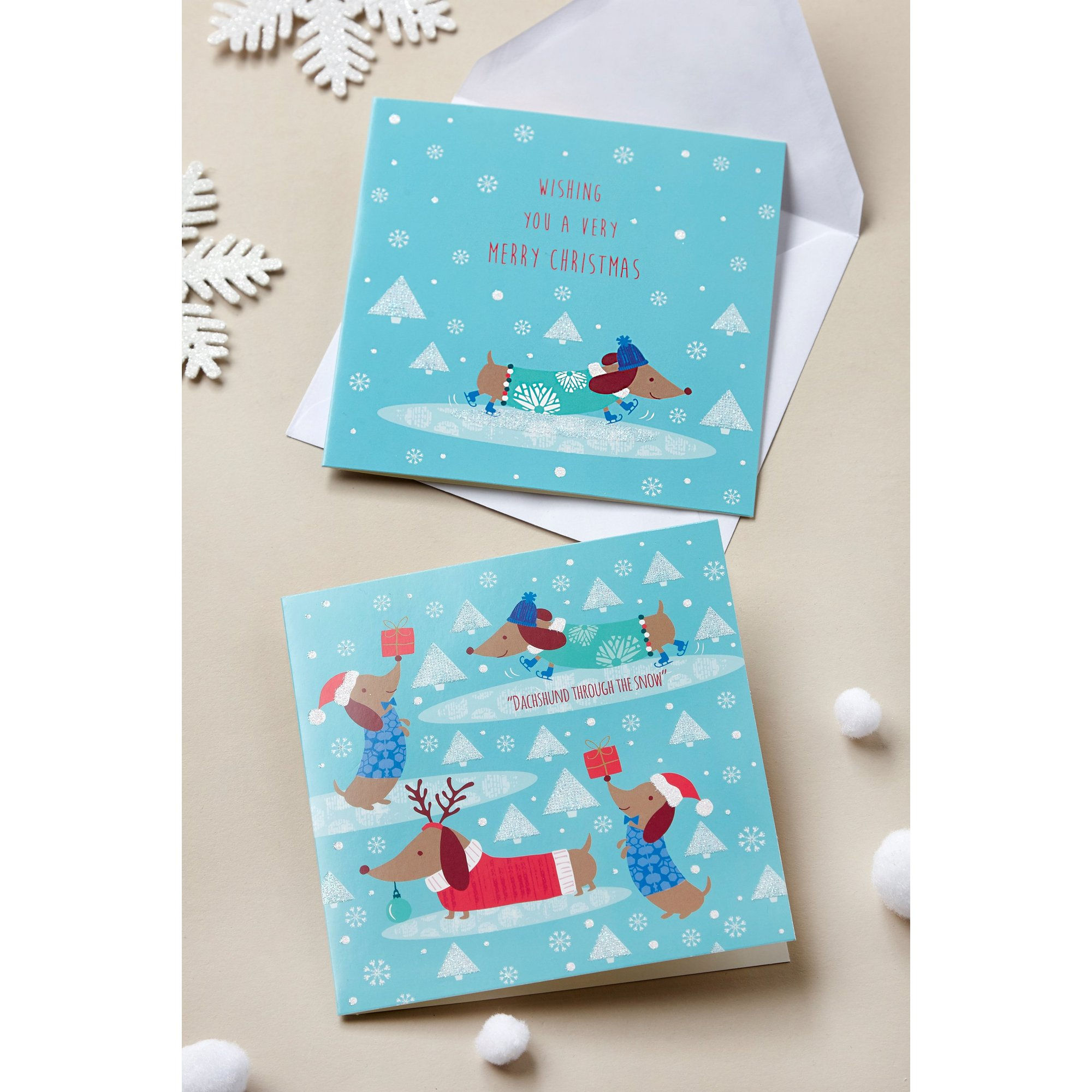 Image of Pack of 10 Dachshund Through The Snow Christmas Cards