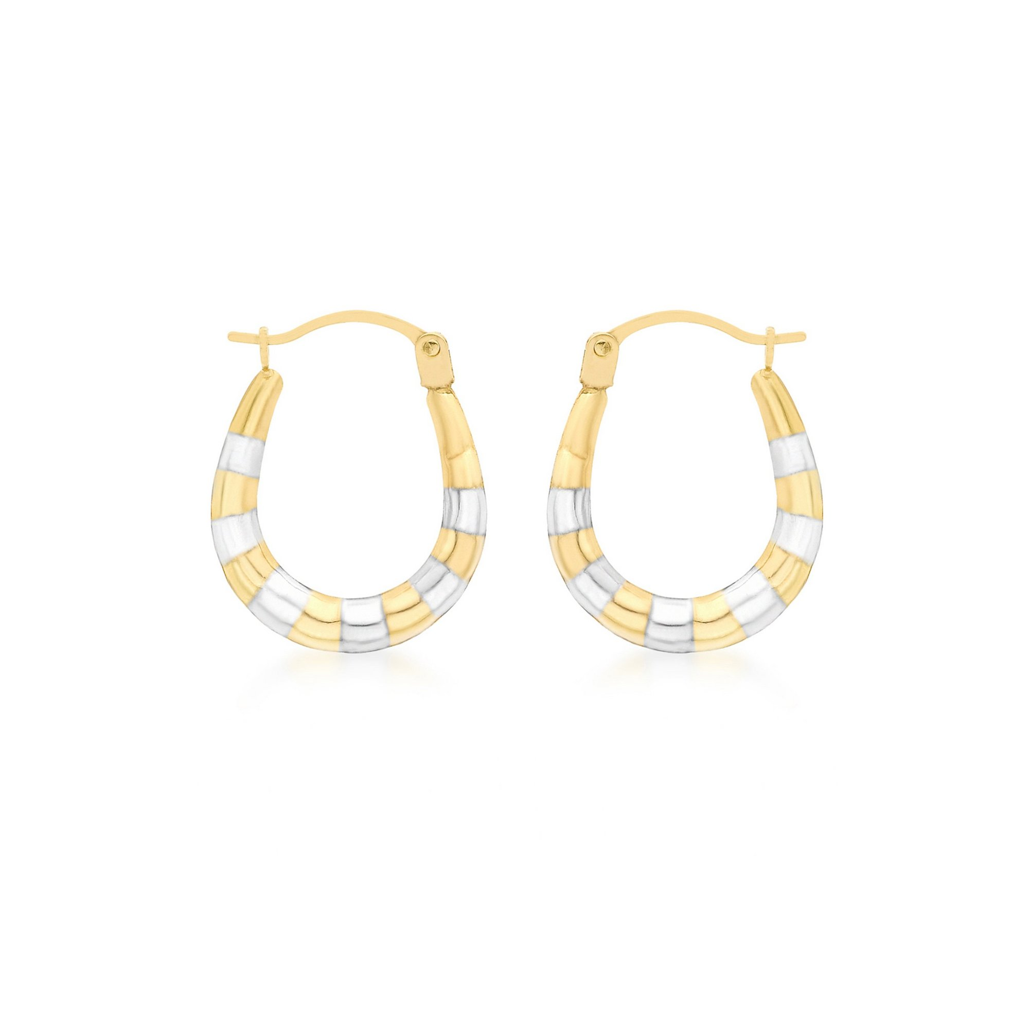 Image of 9ct 2 Tone Gold Ribbed Creole Earrings