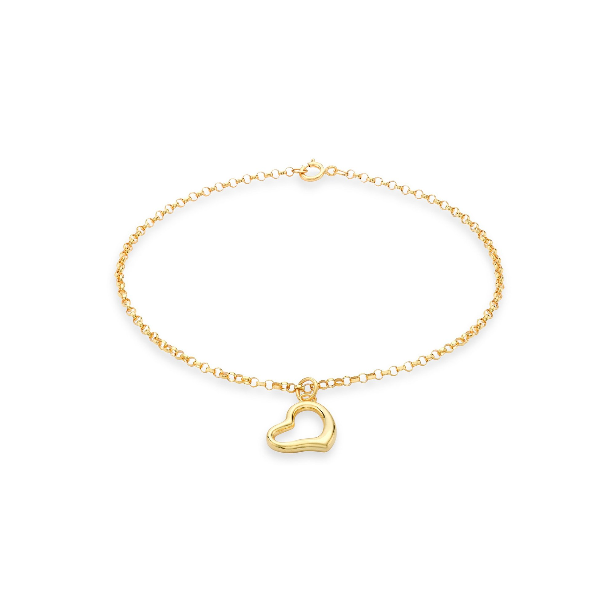 Image of 9ct Gold Heart Charm Round Belcher Chain Bracelet