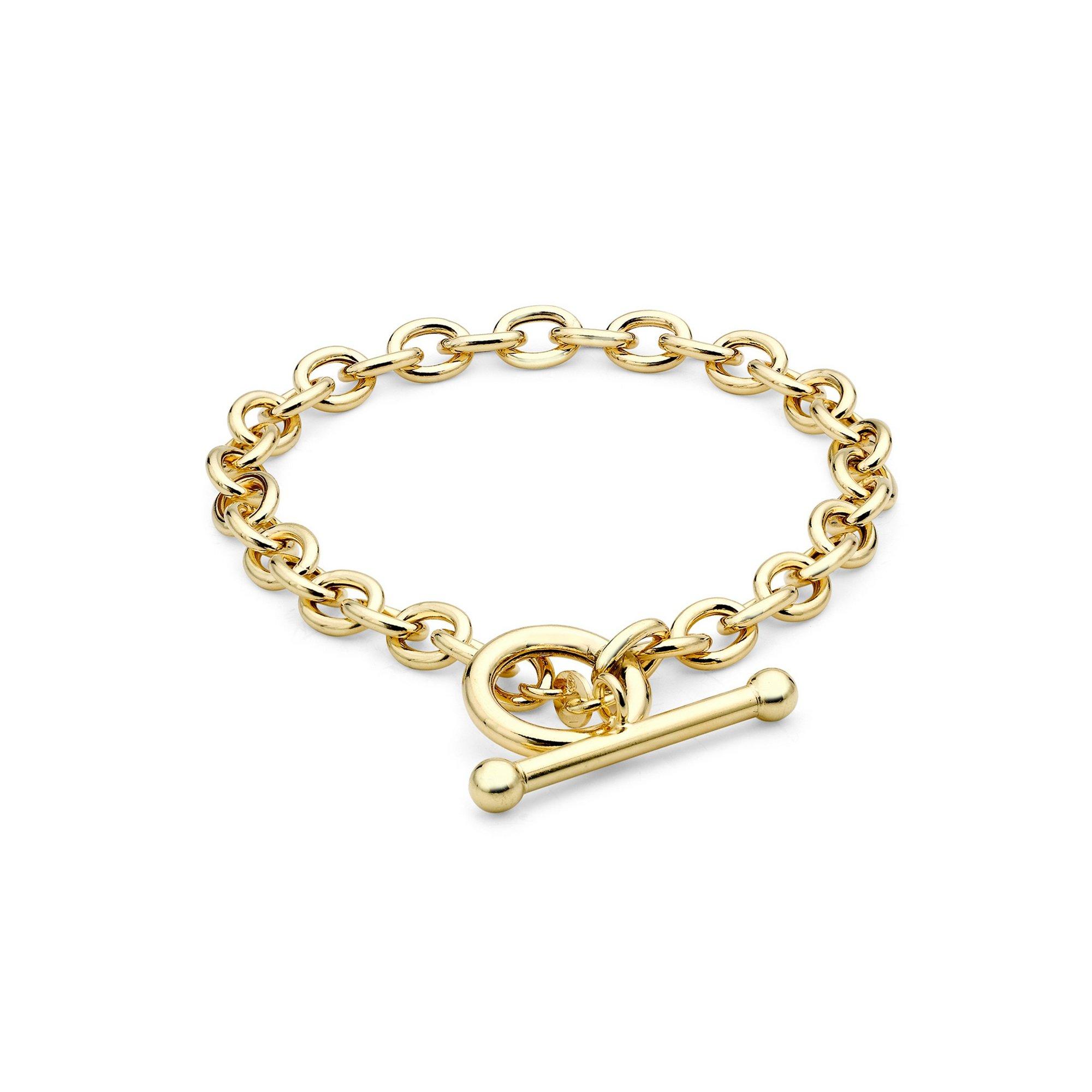 Image of 9ct Gold Oval Link Belcher T-Bar Bracelet