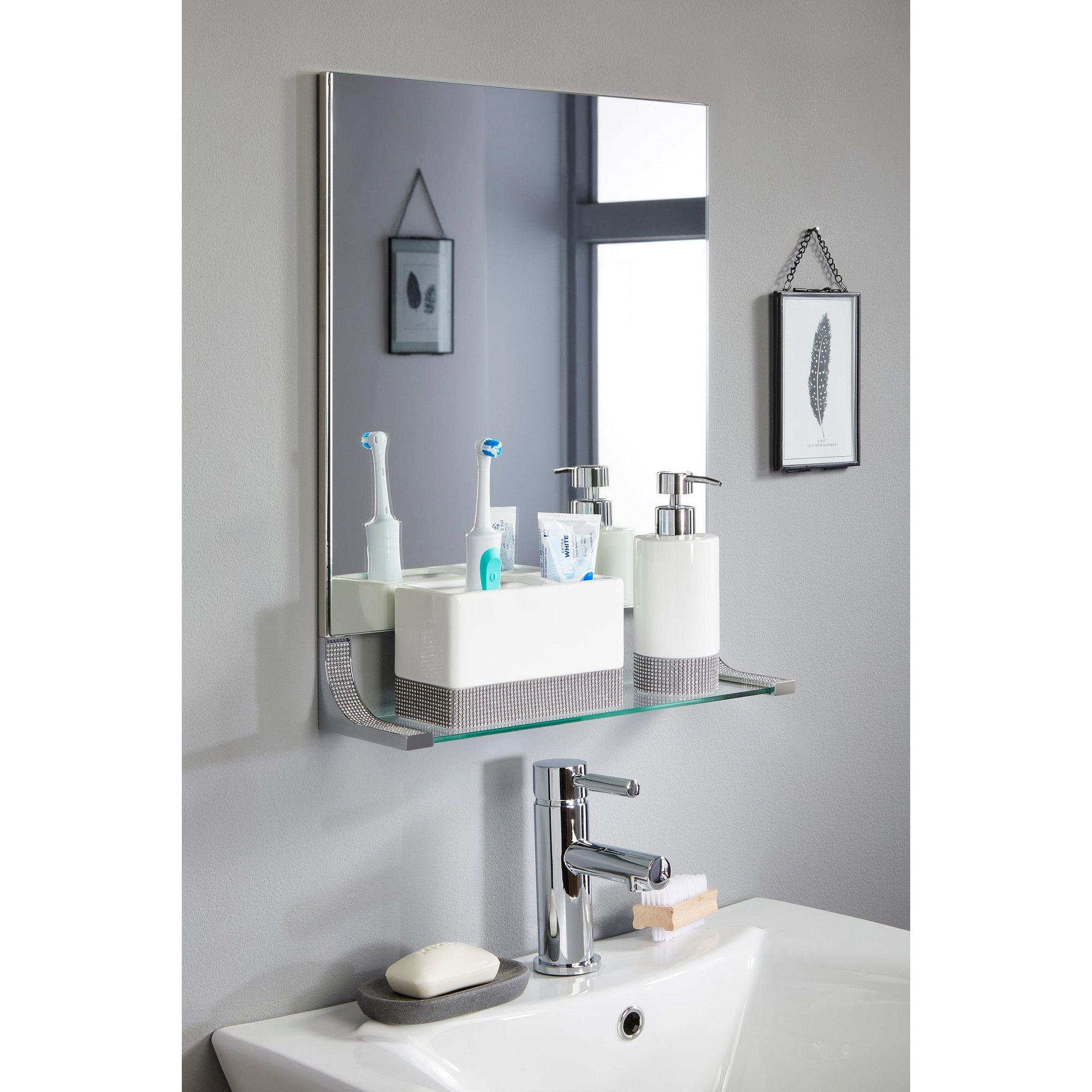 Image of Glamour Square Bathroom Mirror Shelf