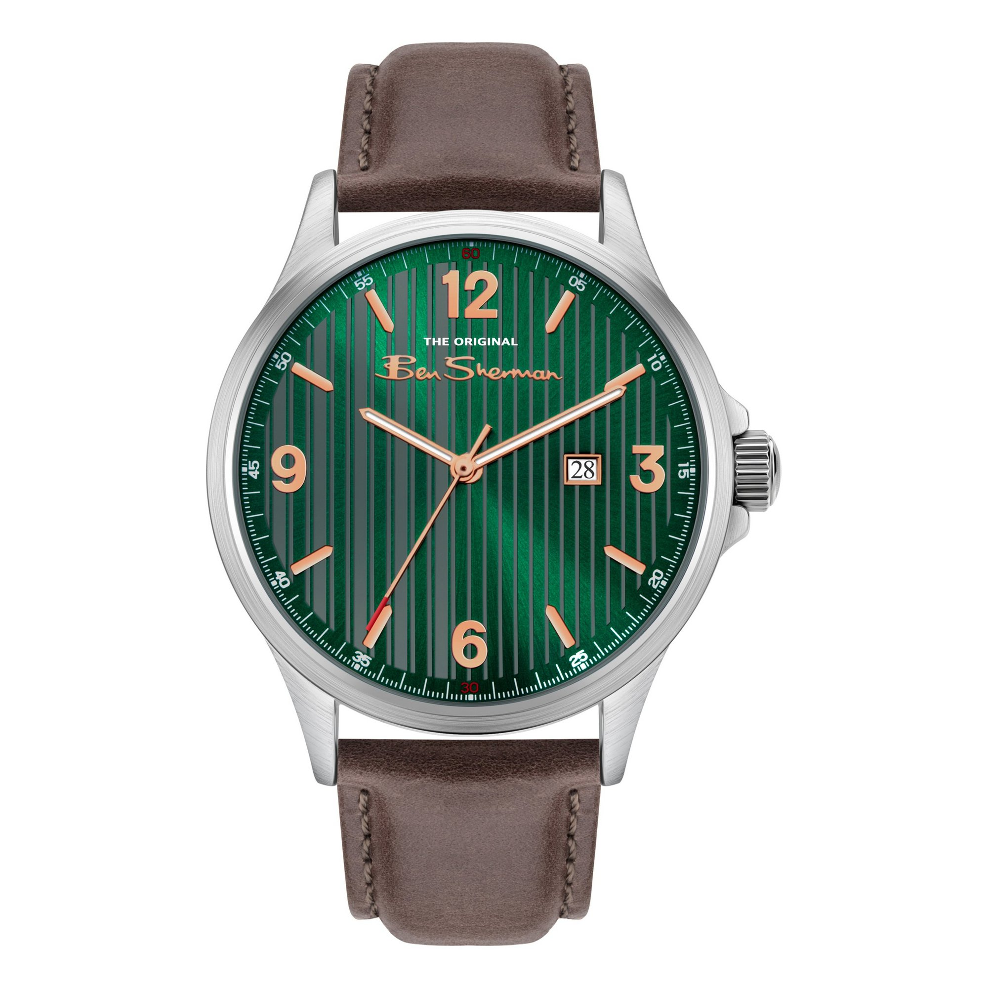 Image of Ben Sherman Watch with a Brown Strap and Green Dial