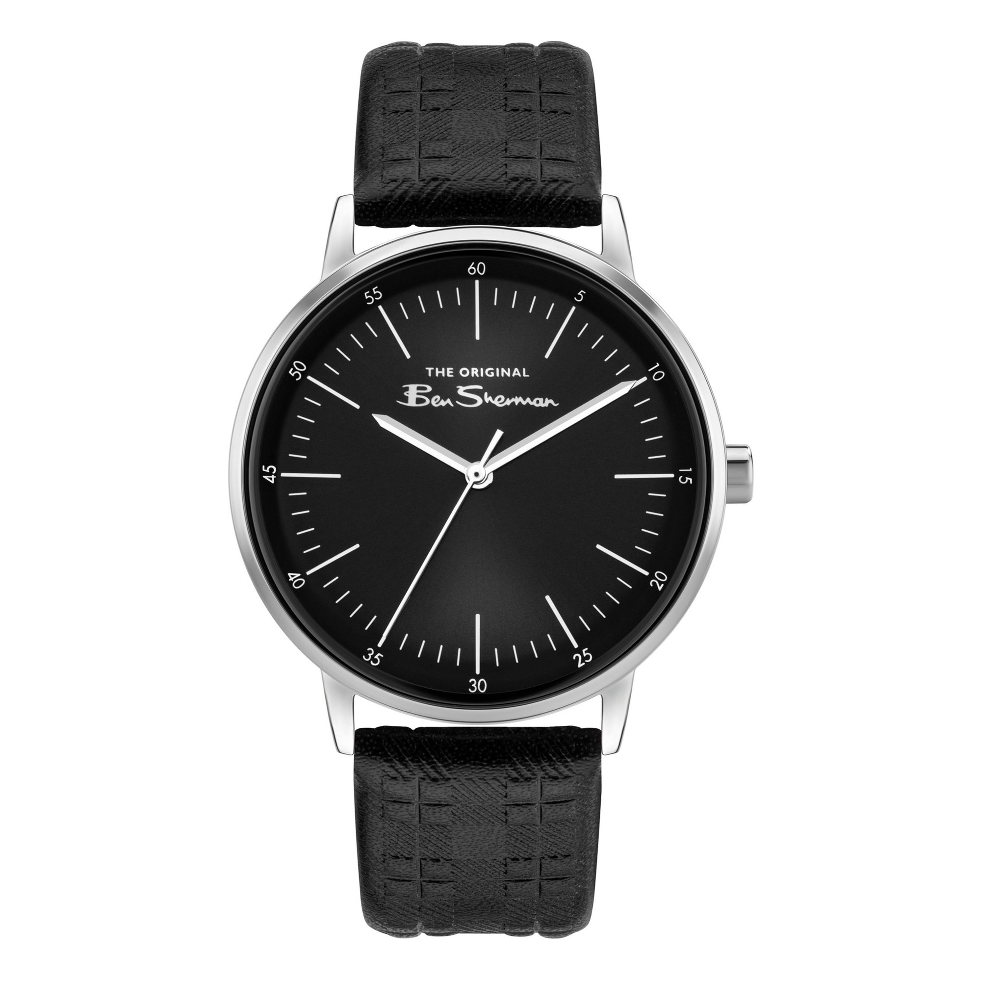 Image of Ben Sherman Watch with a Checked Strap and Black Dial