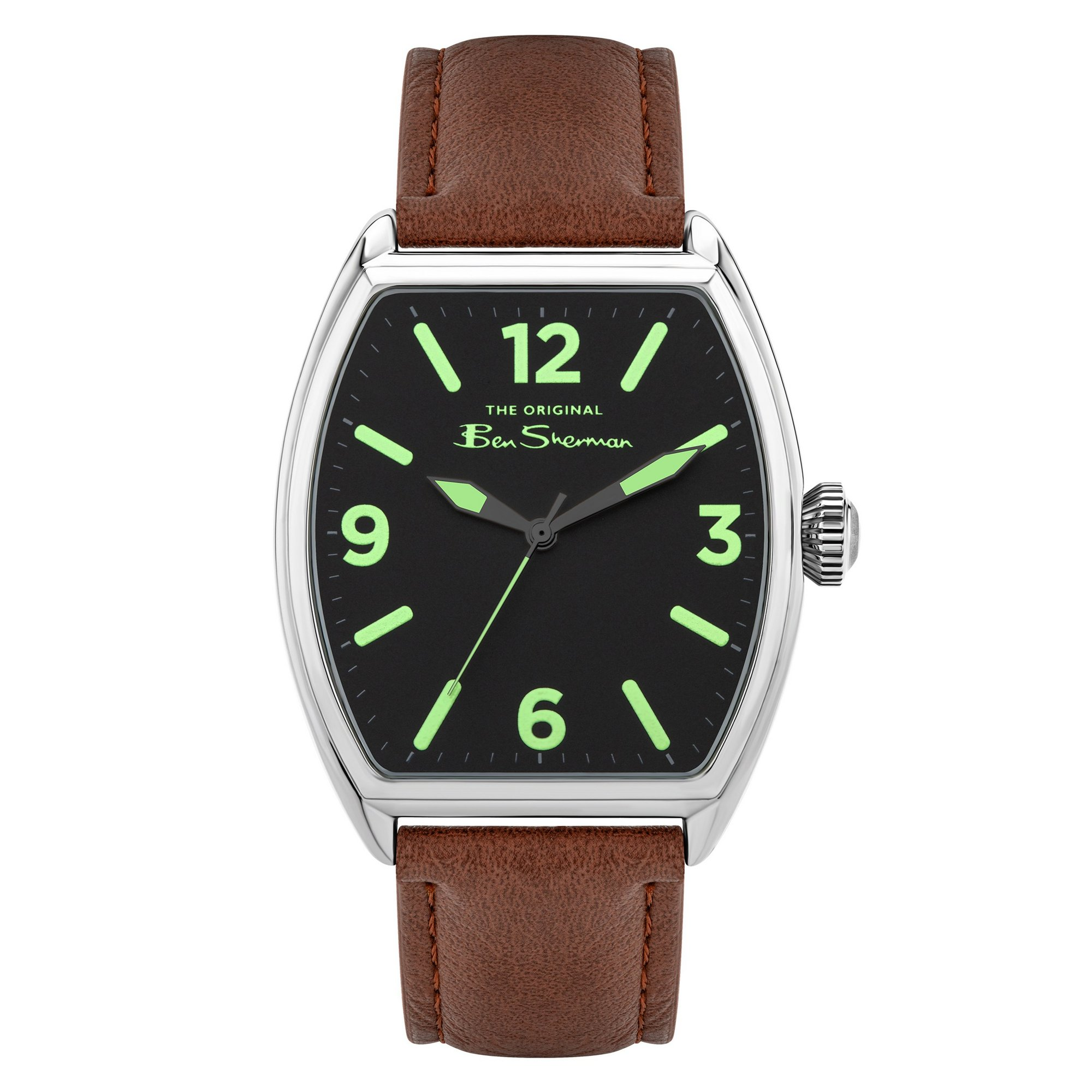 Image of Ben Sherman Watch with a Brown Strap and Rectangular Dial