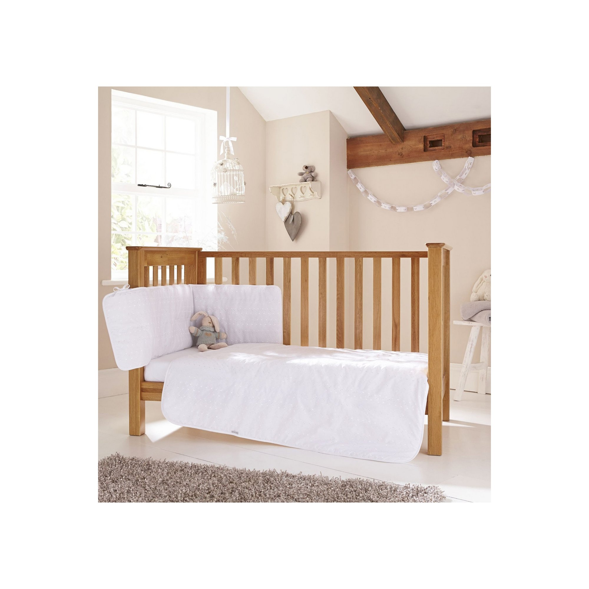 Image of Clair de Lune Broderie Anglaise 3 Piece Cot/Cot Bed Bedding Set