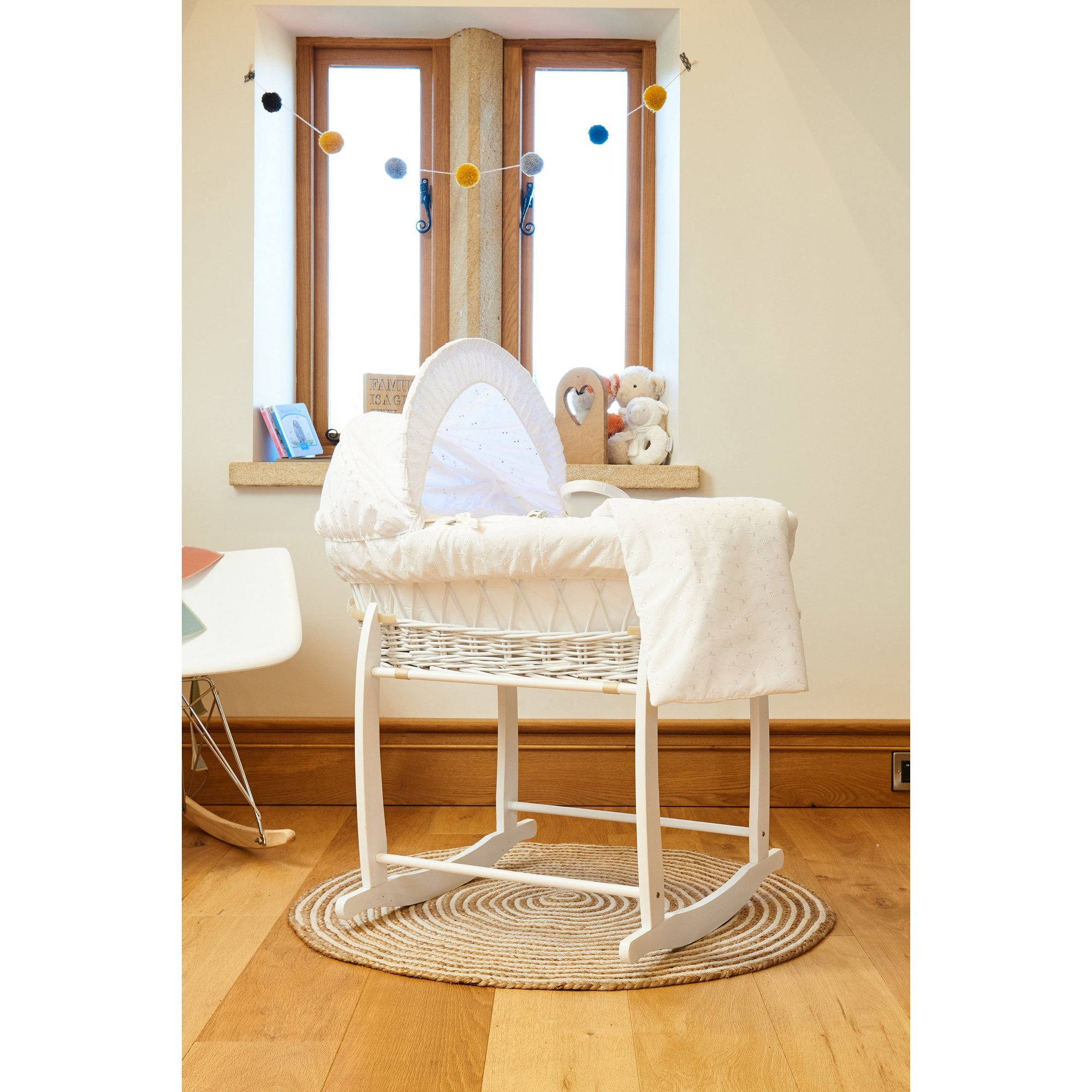 Image of Clair de Lune Broderie Anglaise White Wicker Moses Basket