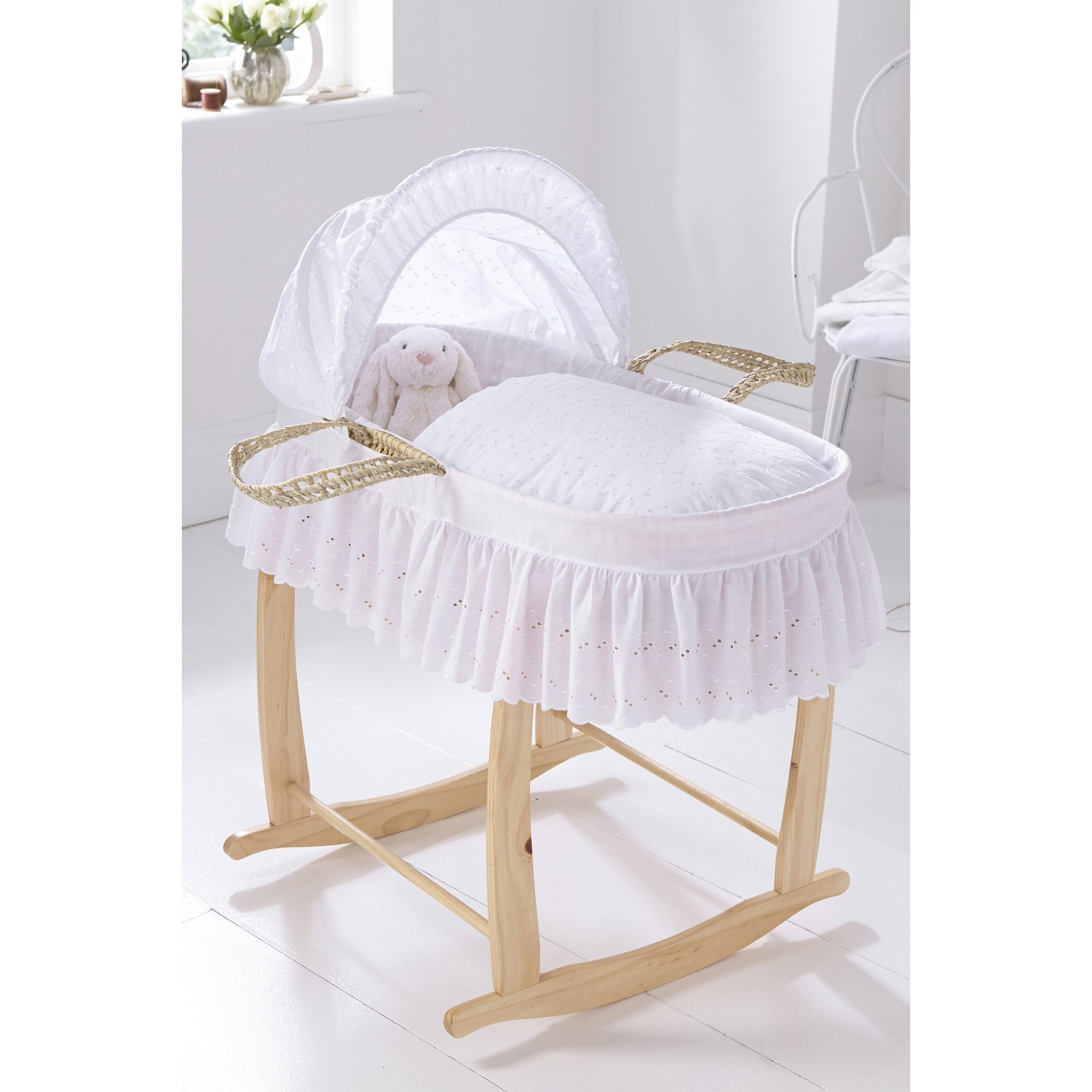 Image of Clair de Lune Broderie Anglaise Palm Moses Basket