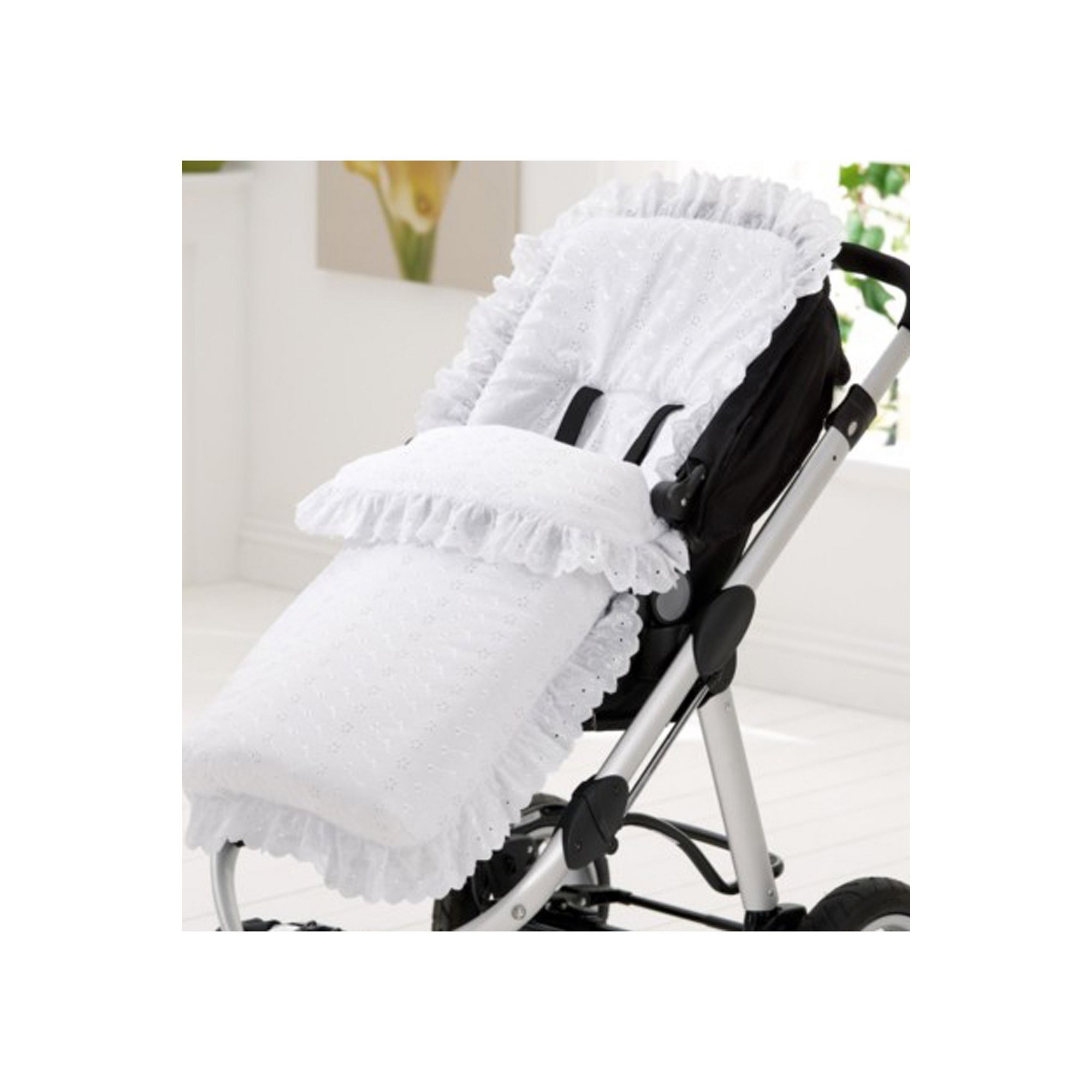 Image of Clair de Lune Broderie Anglaise Pushchair Footmuff