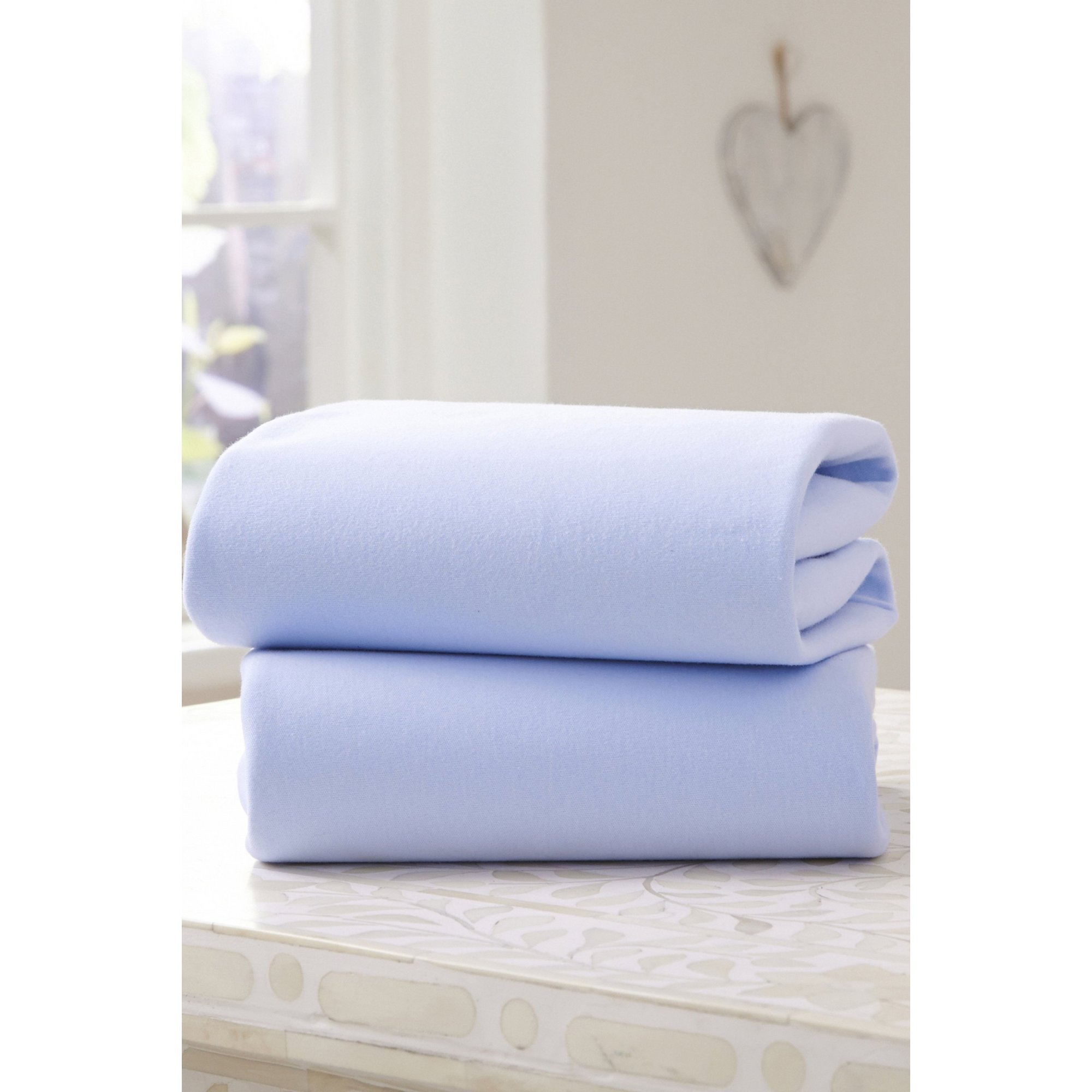 Image of Clair de Lune 2 Pack Fitted Cotton Jersey Pram/Crib Sheets