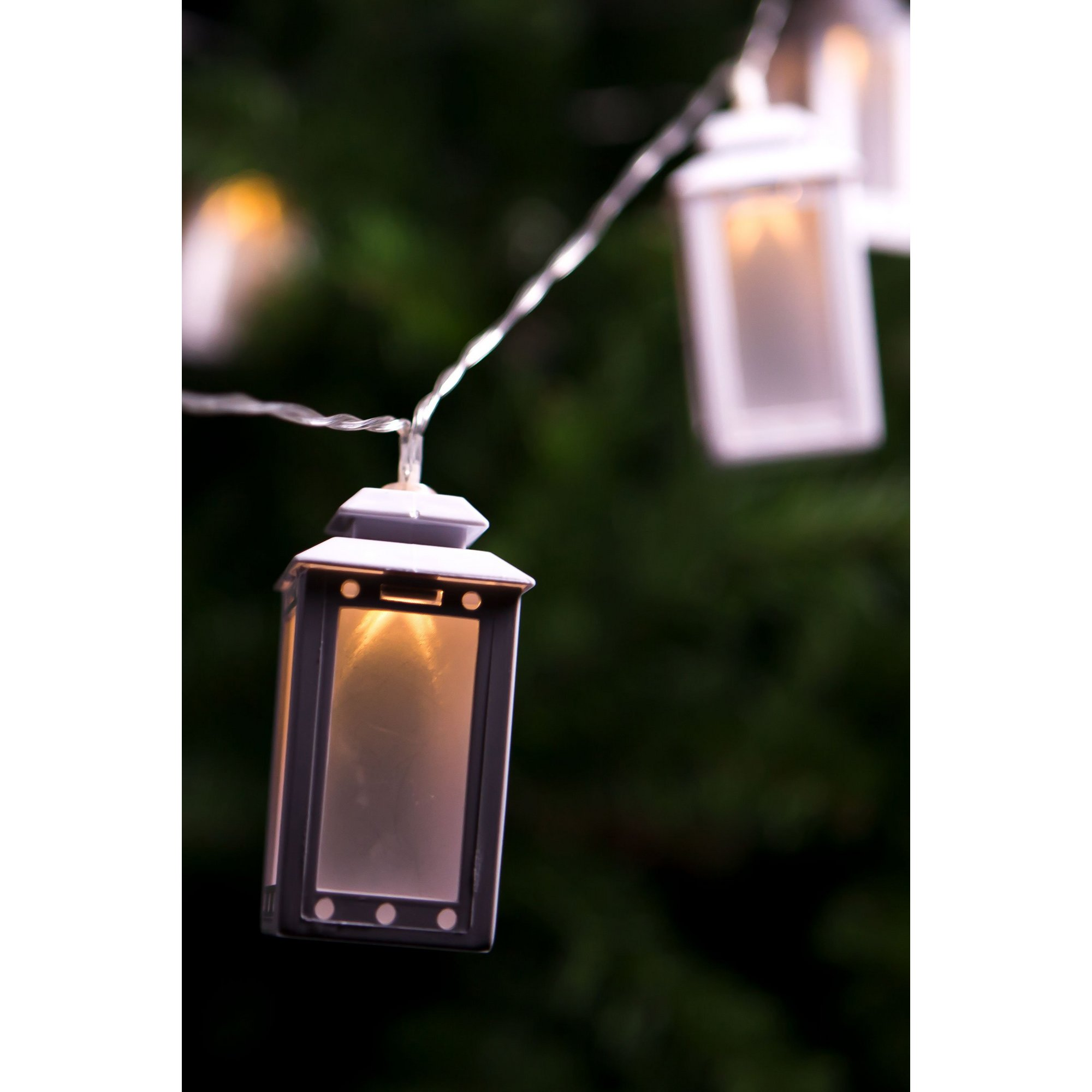 Image of 10 Laser Solar LED White Lantern String Lights