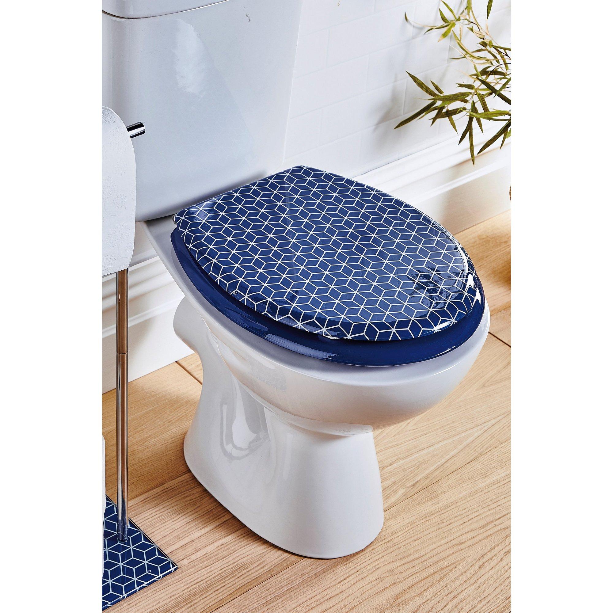 Image of Beldray Geometric Navy Design Toilet Seat
