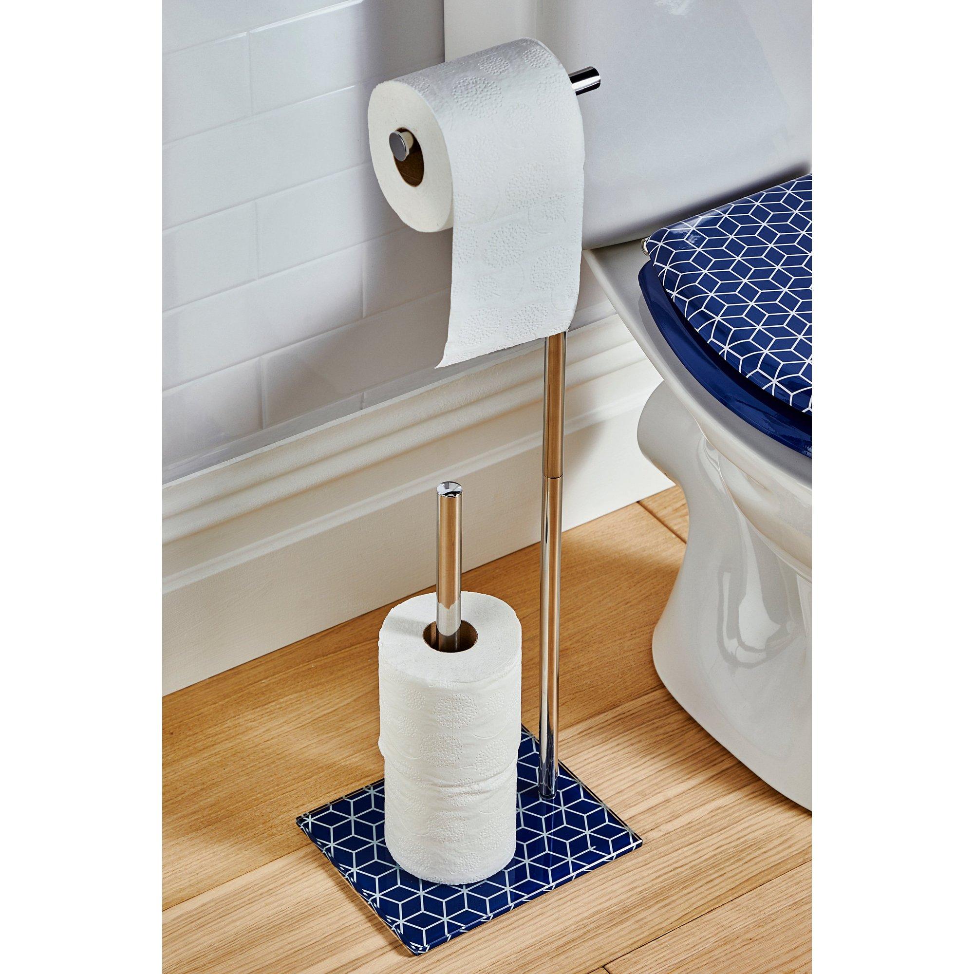 Image of Beldray Geometric Navy Toilet Roll Holder