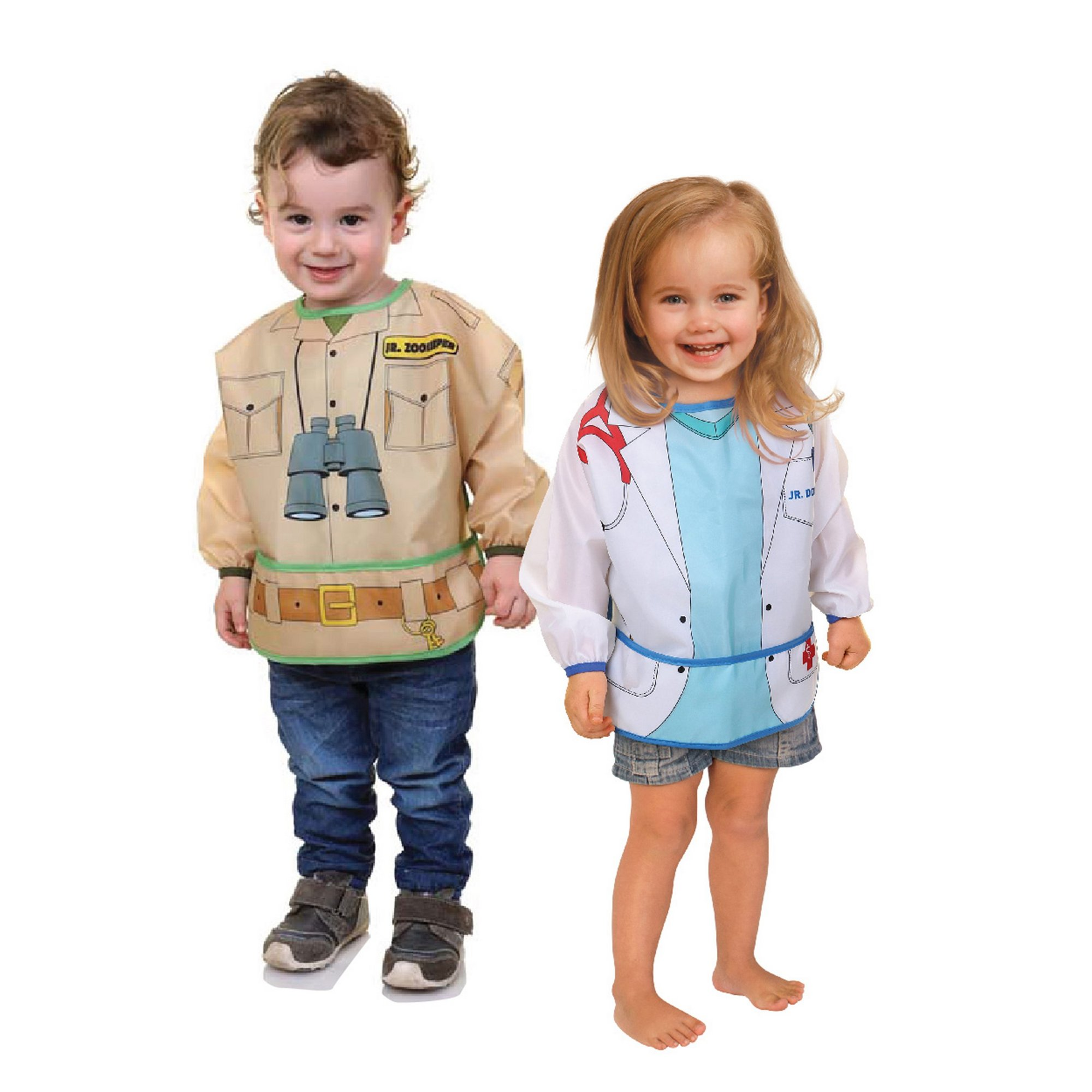 Image of 2 Pack Character Bibs with Sleeves Zookeeper/Doctor