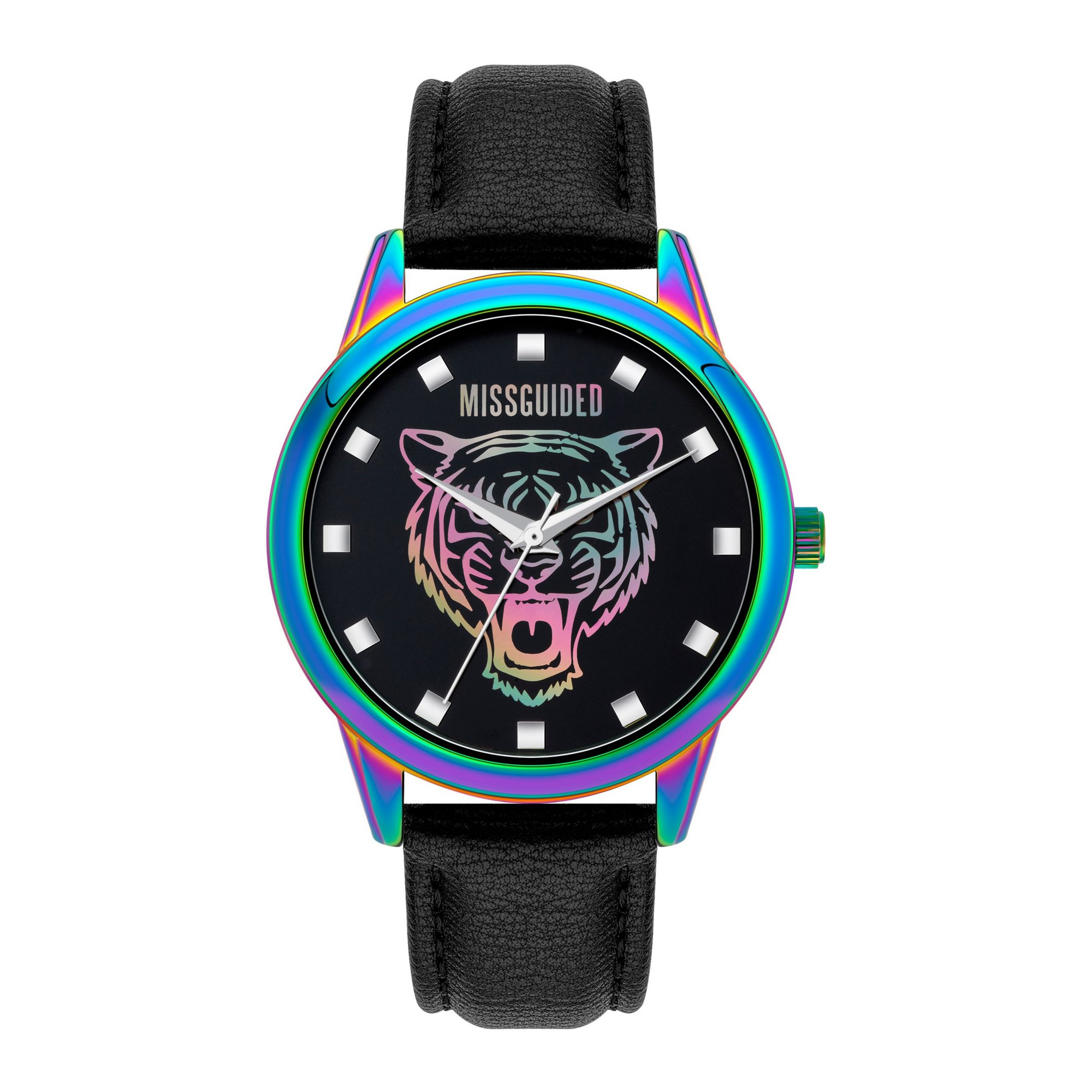 Image of Missguided Iridescent Case Strap Watch with Tiger Dial