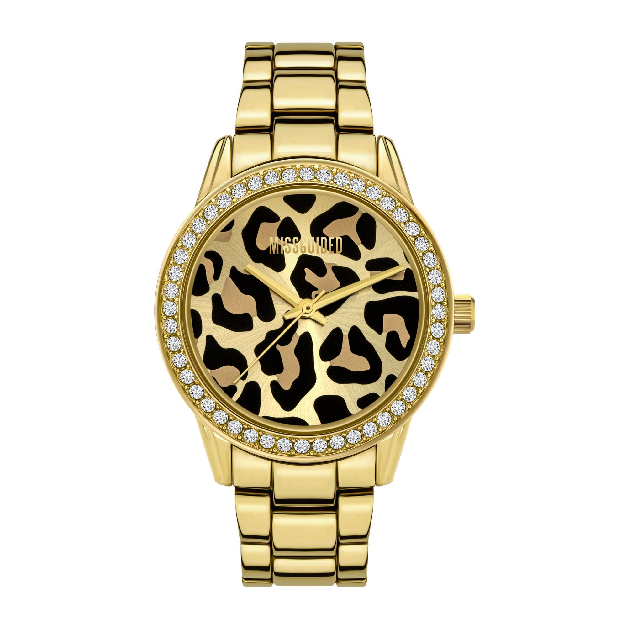 Image of Missguided Gold Bracelet Watch with Sunray Leopard Dial
