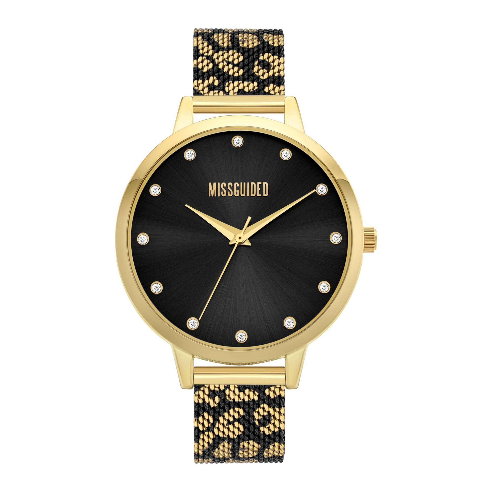 Image of Missguided Leopard Print Mesh Strap Watch with Black Dial