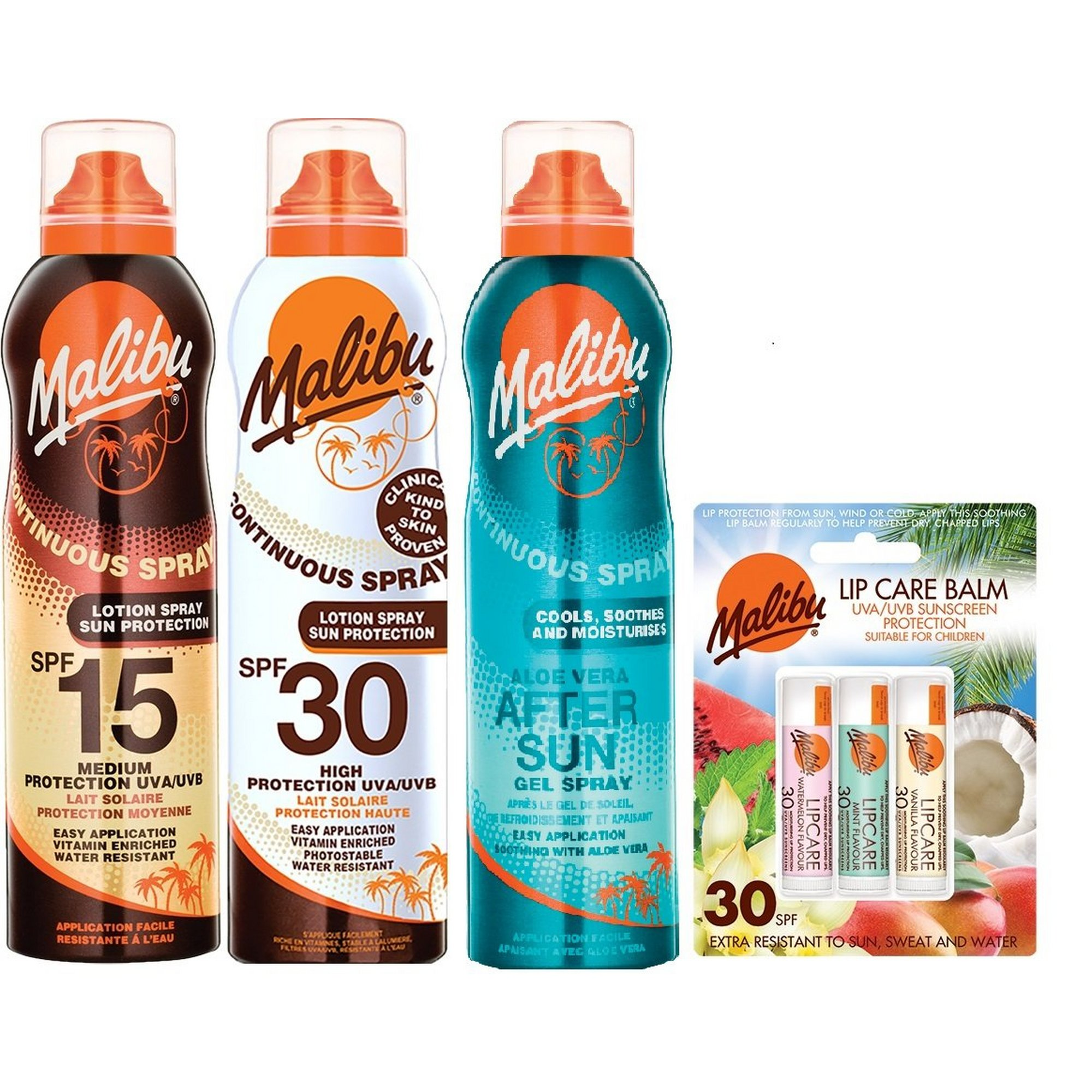 Image of Malibu Pack of 3 Mixed SPF Continuous Spray