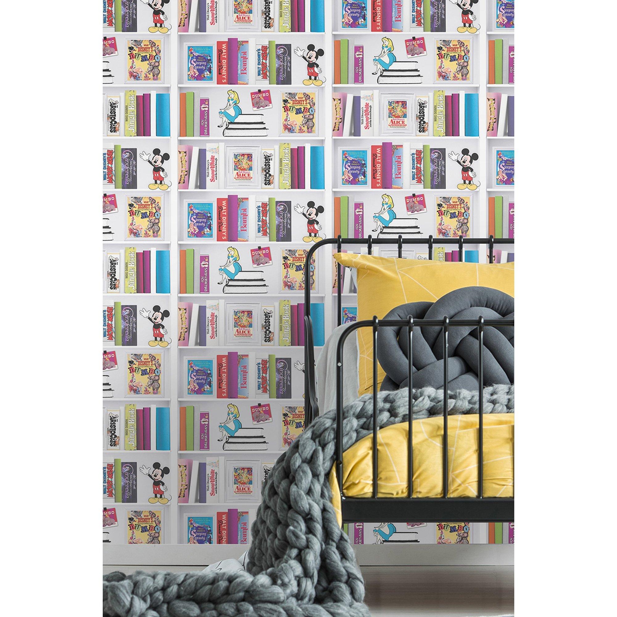 Image of Disney Character Bookshelf Wallpaper