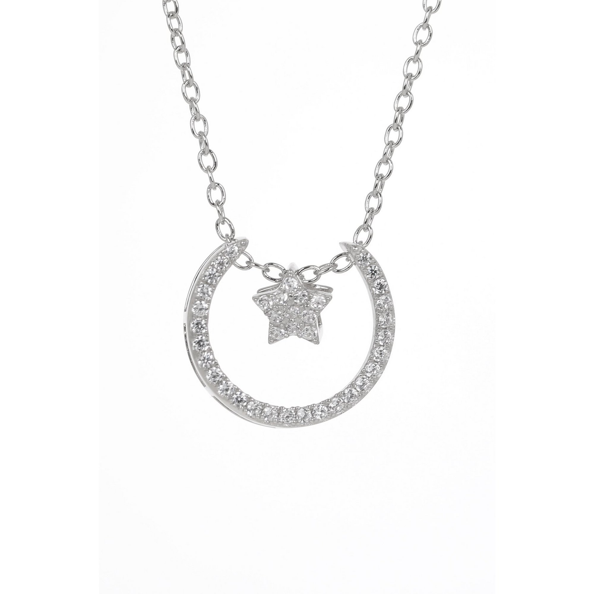 Image of Espree Aurora Sterling Silver Crescent and Star Necklace