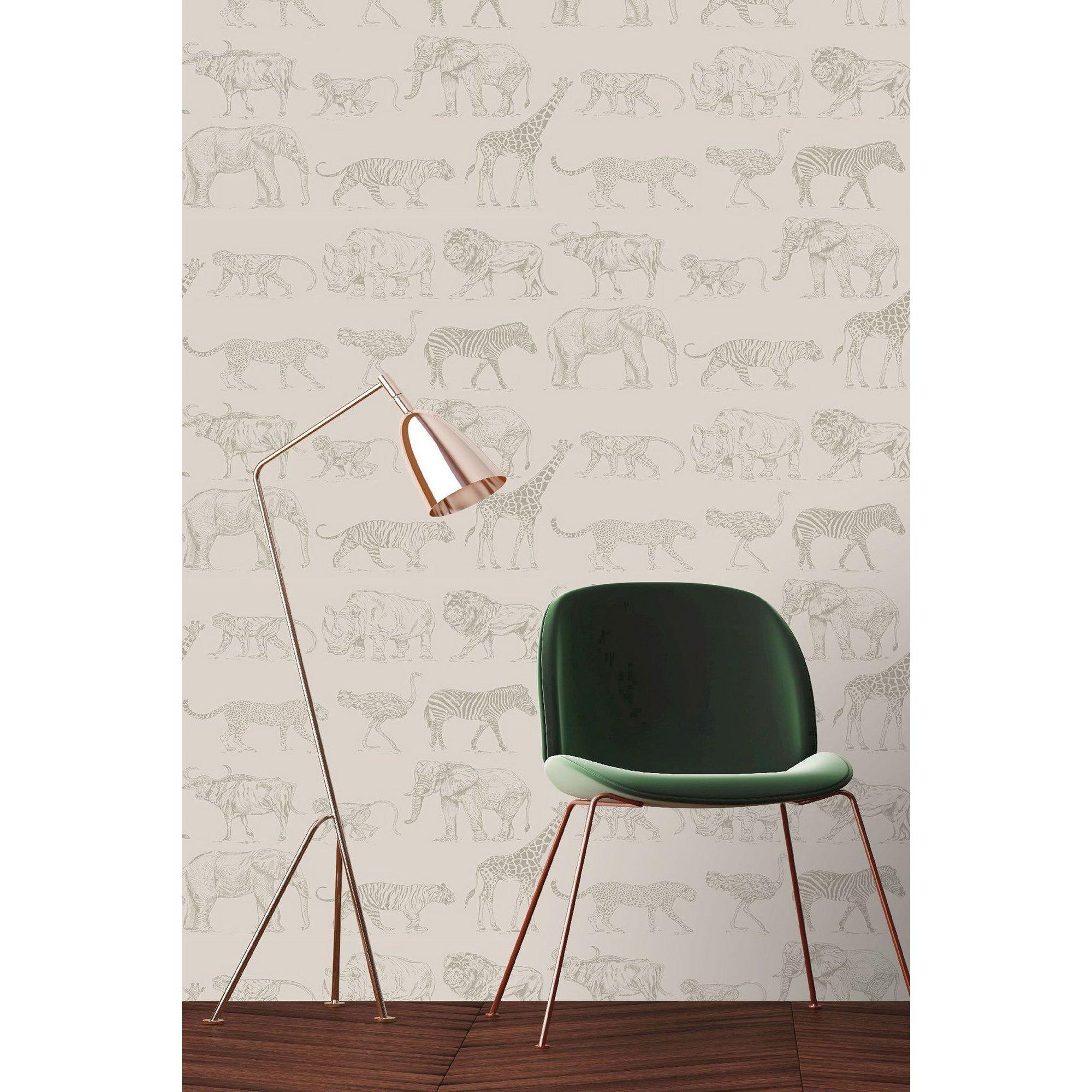 Image of Boutique Cream Animal Safari Wallpaper