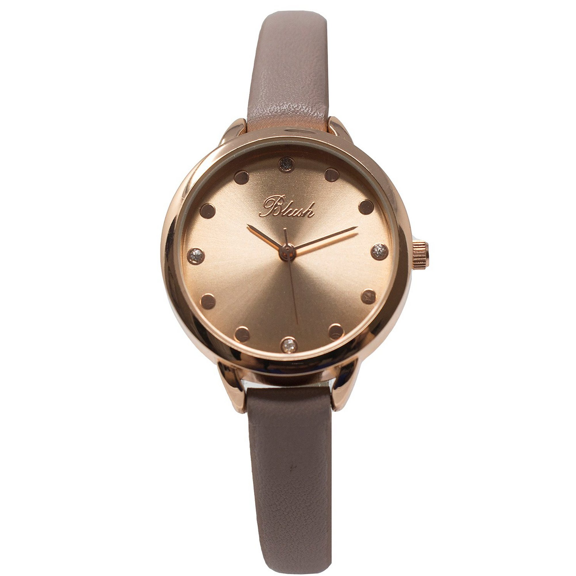 Image of Ladies Blush Analogue Watch with Slim Nude Strap