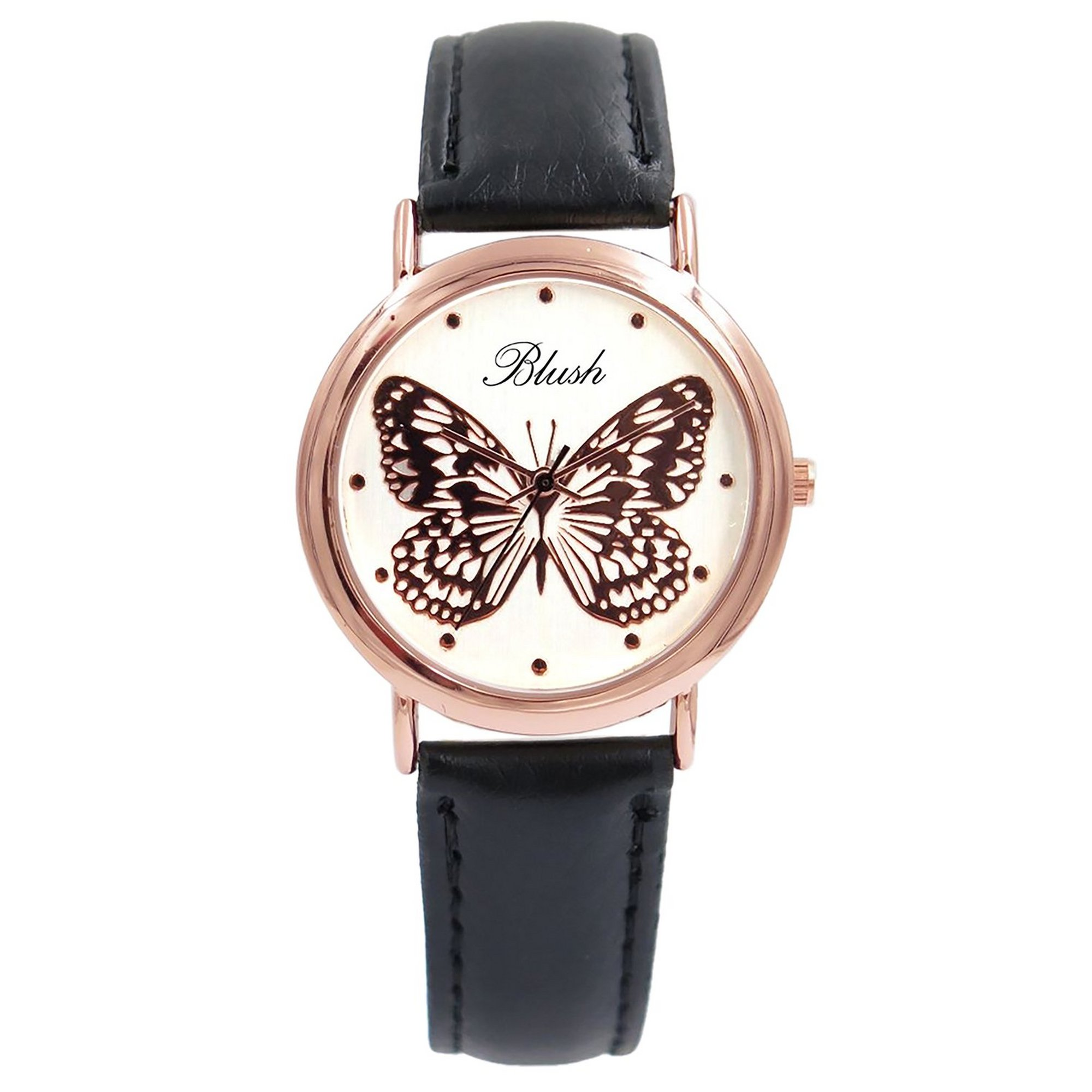 Image of Ladies Blush Analogue Watch with Wide Black Strap