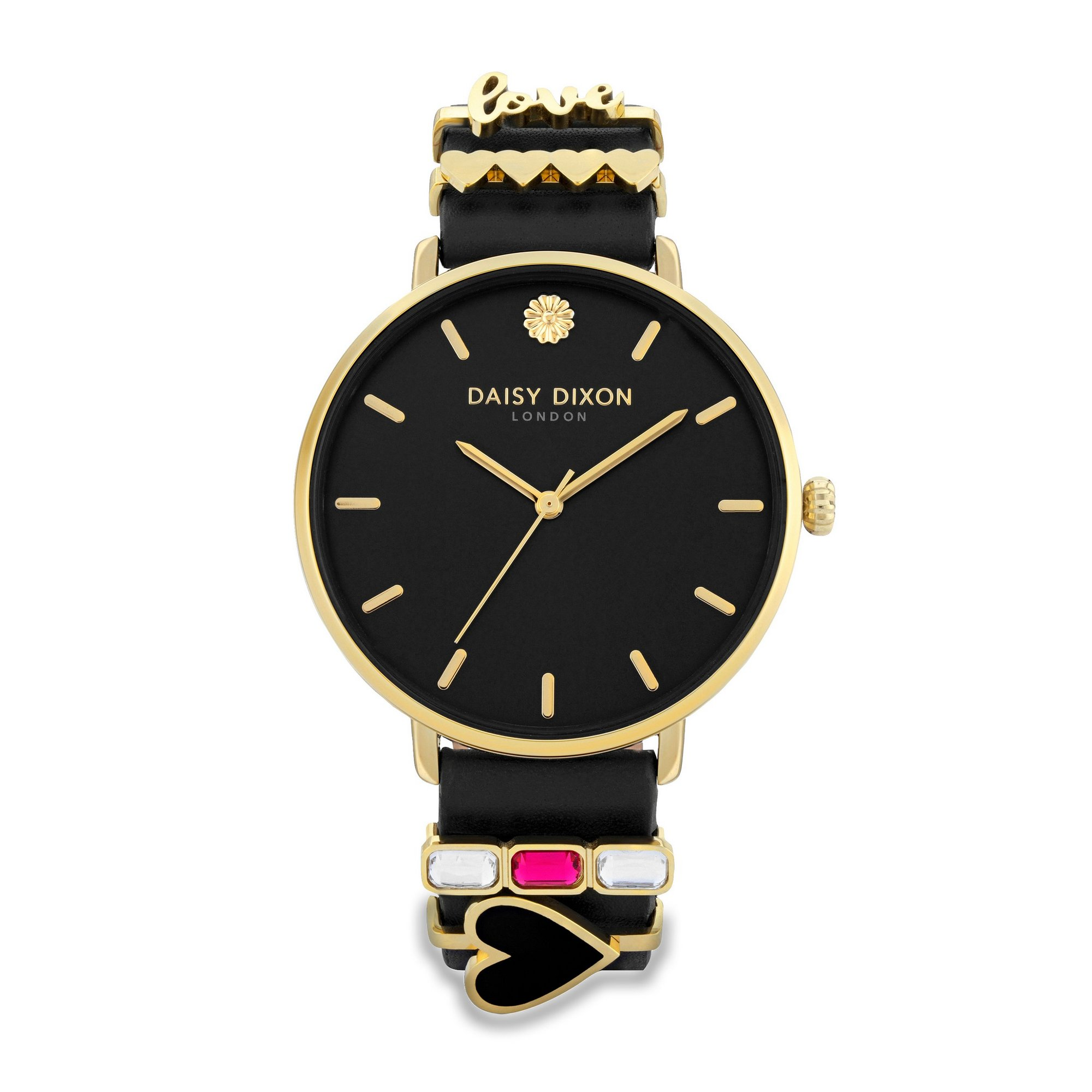 Image of Daisy Dixon Kendall Black Strap Watch with Black Sunray Dial