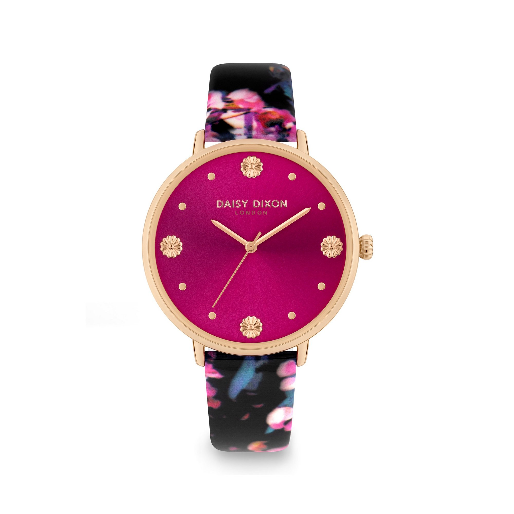 Image of Daisy Dixon Kendall 11 Black Floral Print Strap Watch With Deep P...