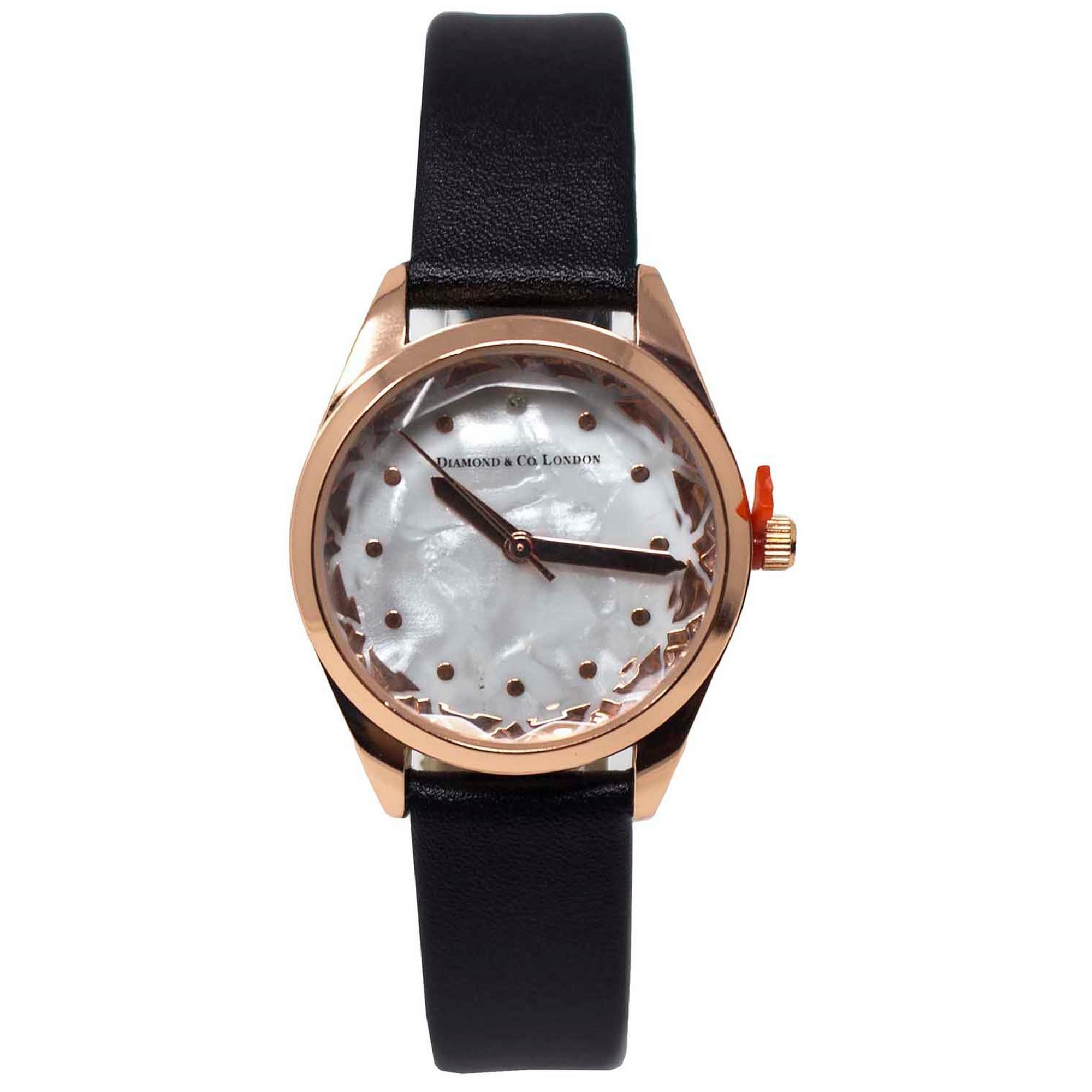 Image of Diamond and Co Black Strap Analogue Watch