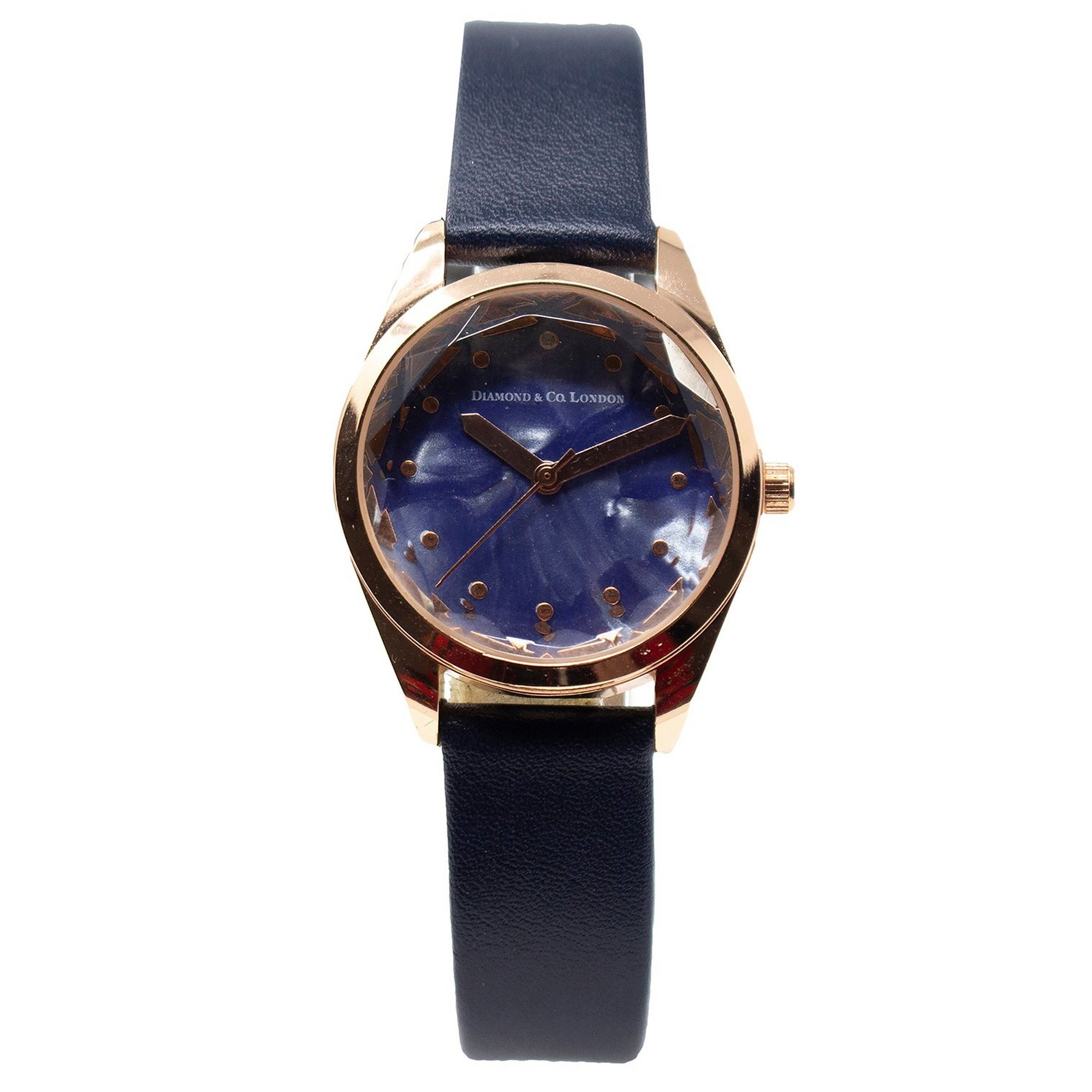 Image of Diamond and Co Black Strap Analogue Watch with Blue Dial