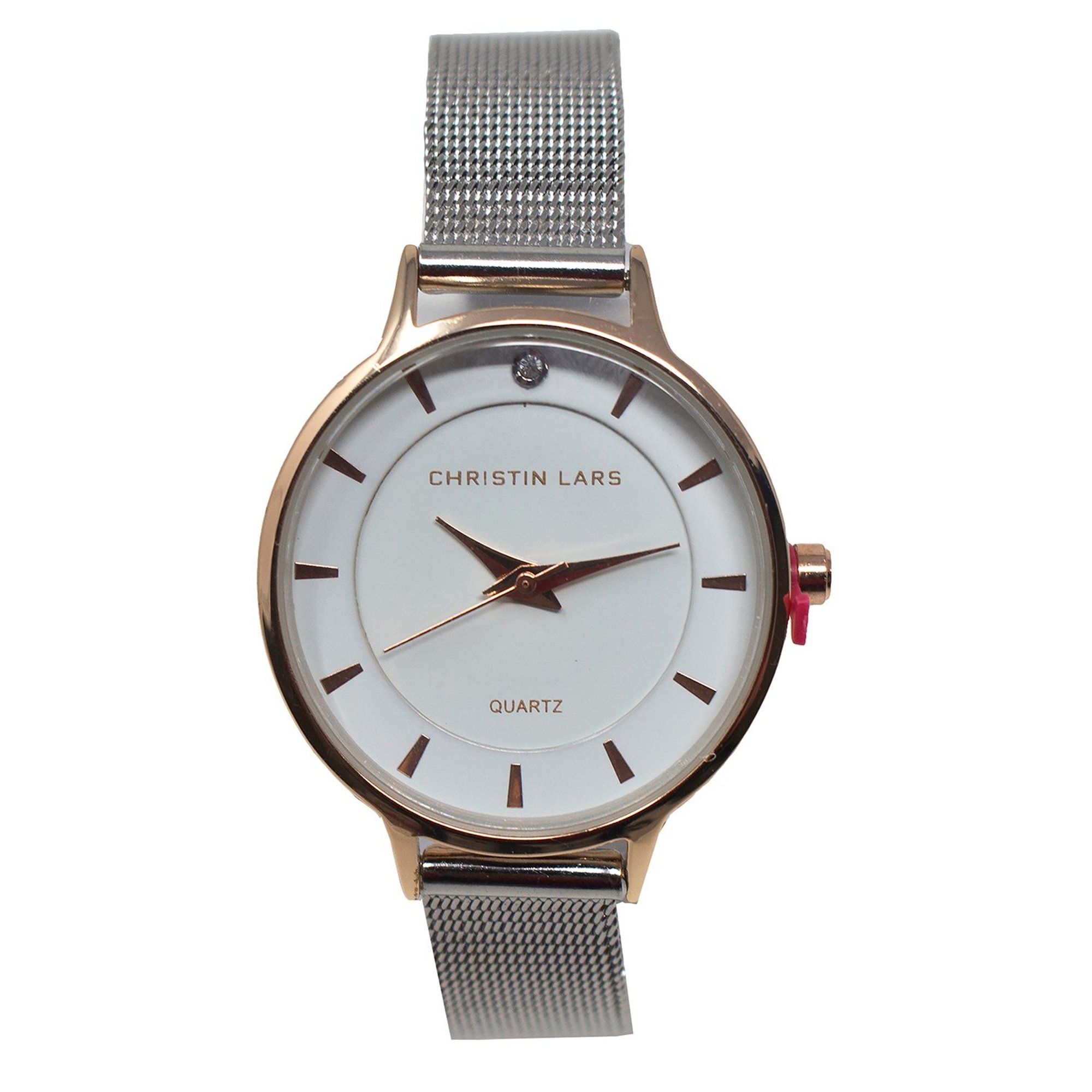 Image of Christin Lars Silver Mesh Strap Watch with White Dial