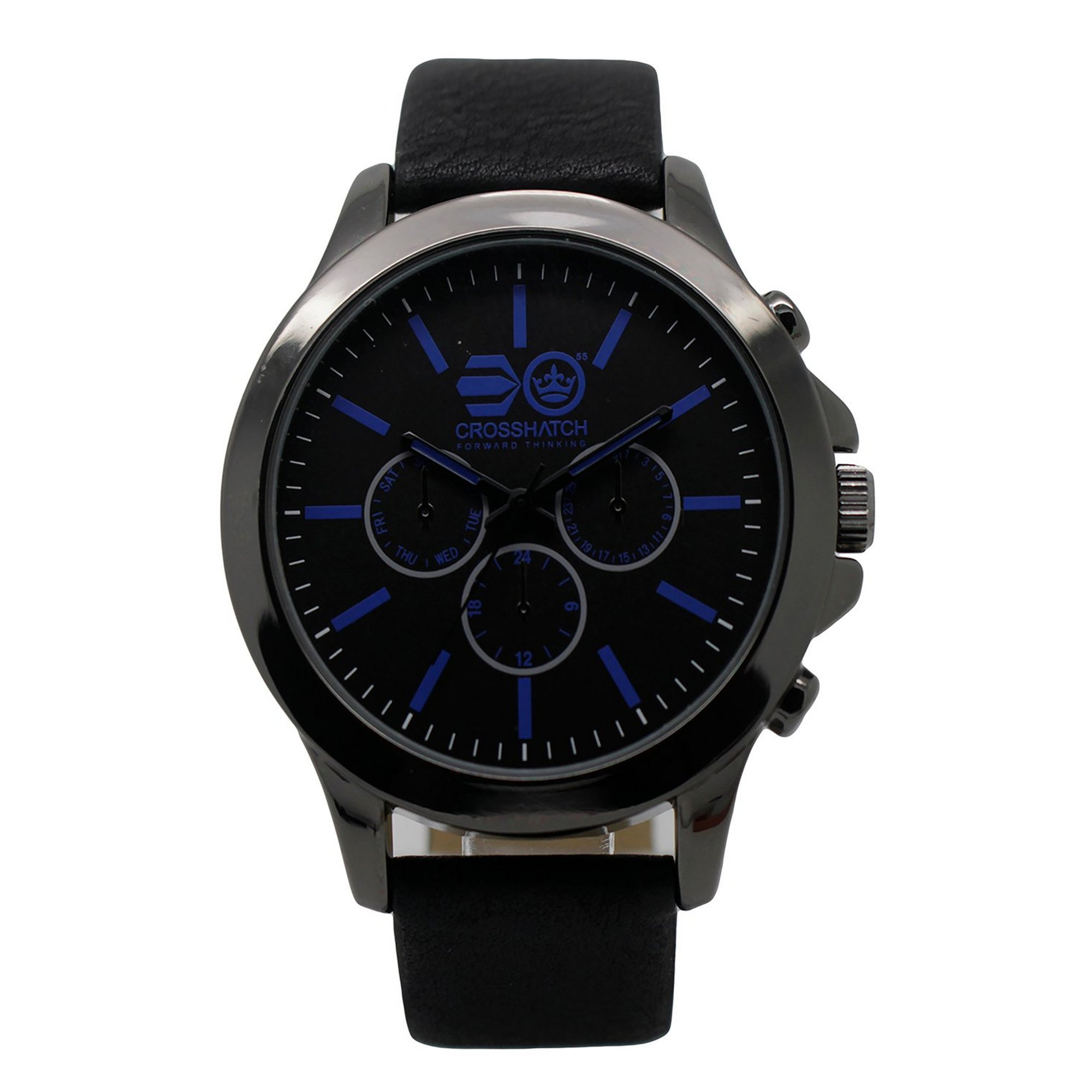 Image of Crosshatch Black and Blue Strap Watch