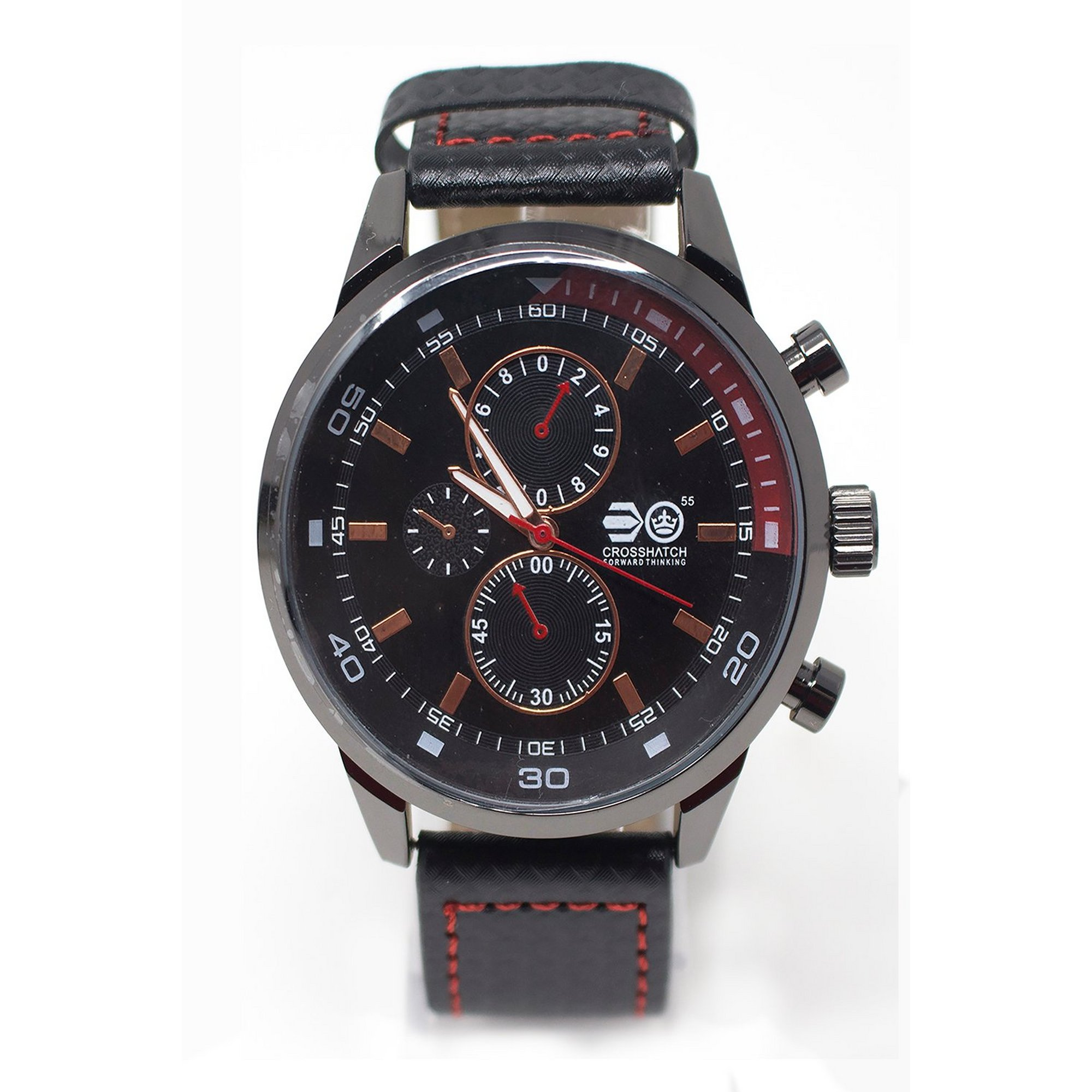 Image of Crosshatch Black and Red Strap Watch