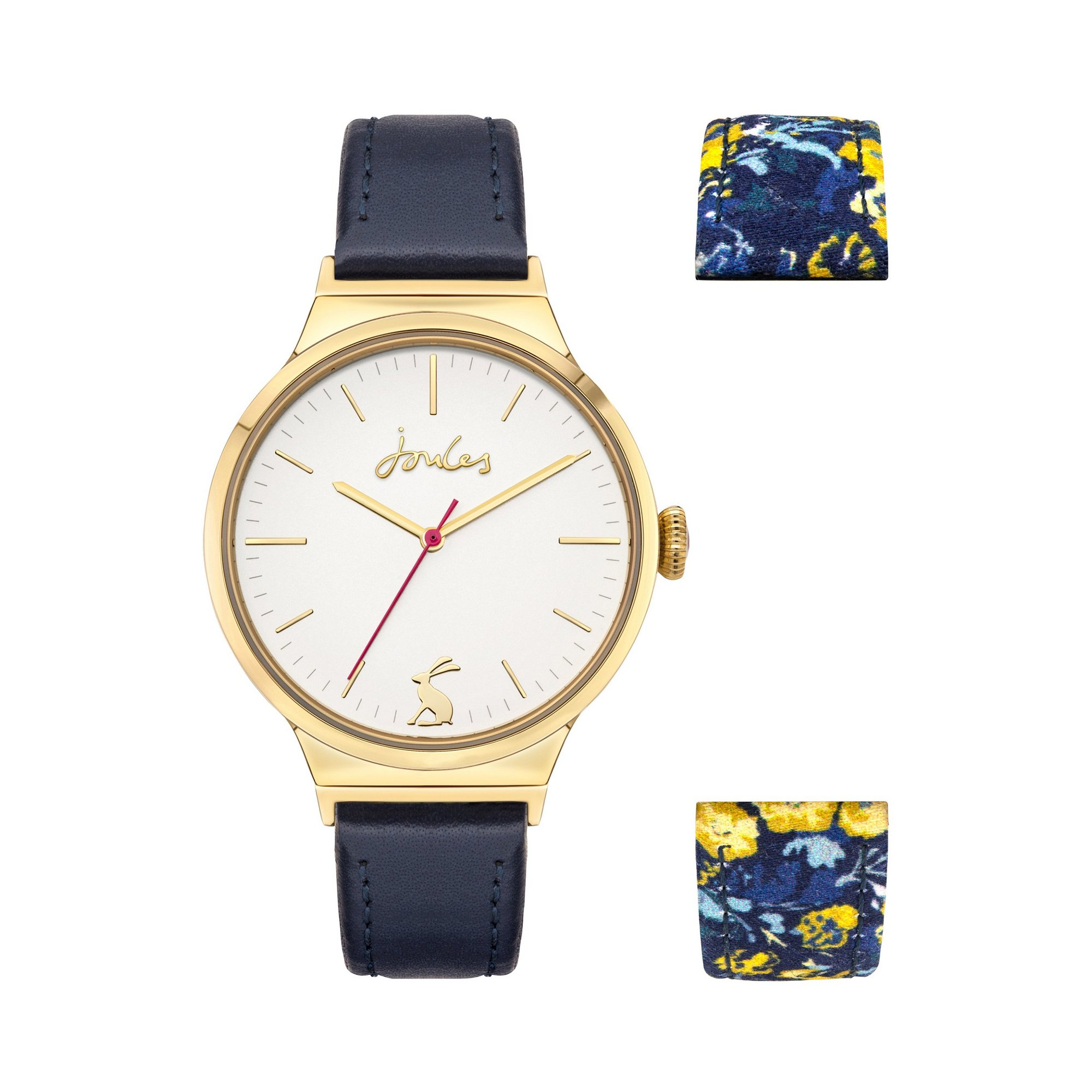 Image of Joules Navy Floral Print Reversible Leather Strap Watch