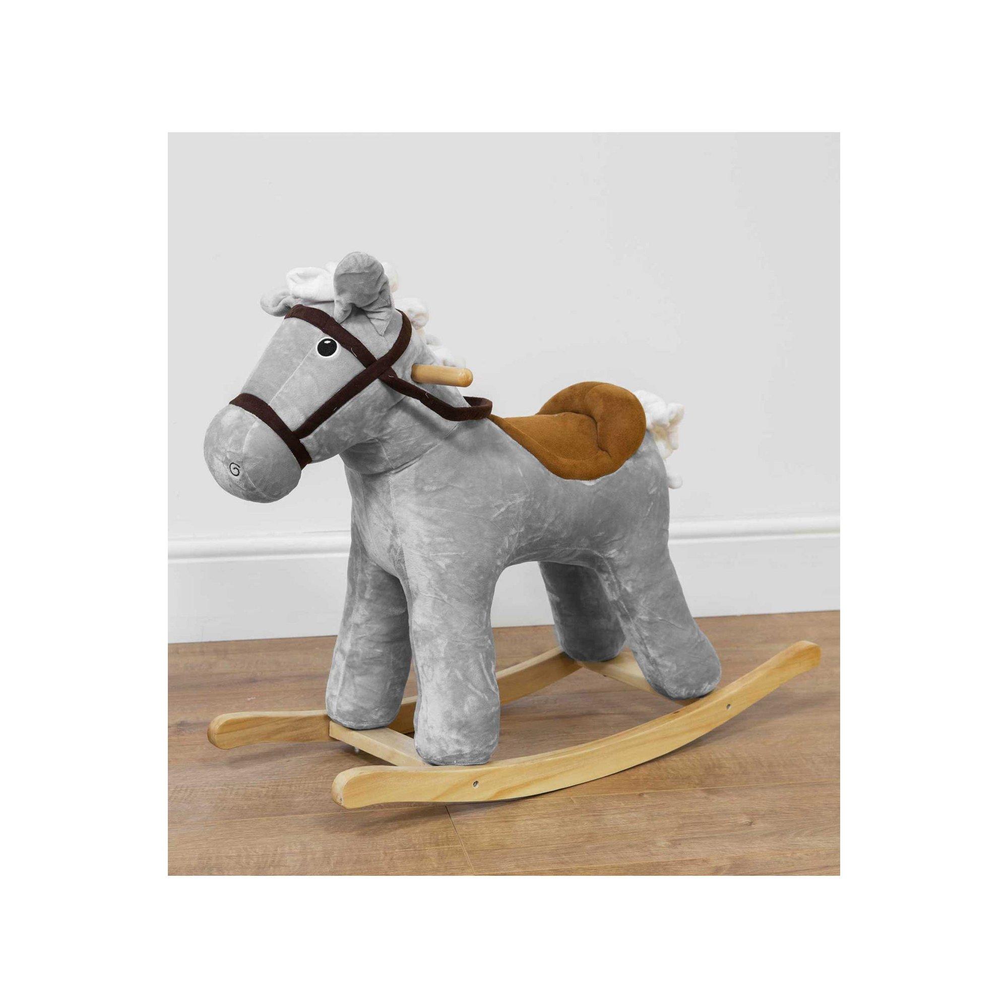Image of Bambino Grey Velvet Rocking Horse