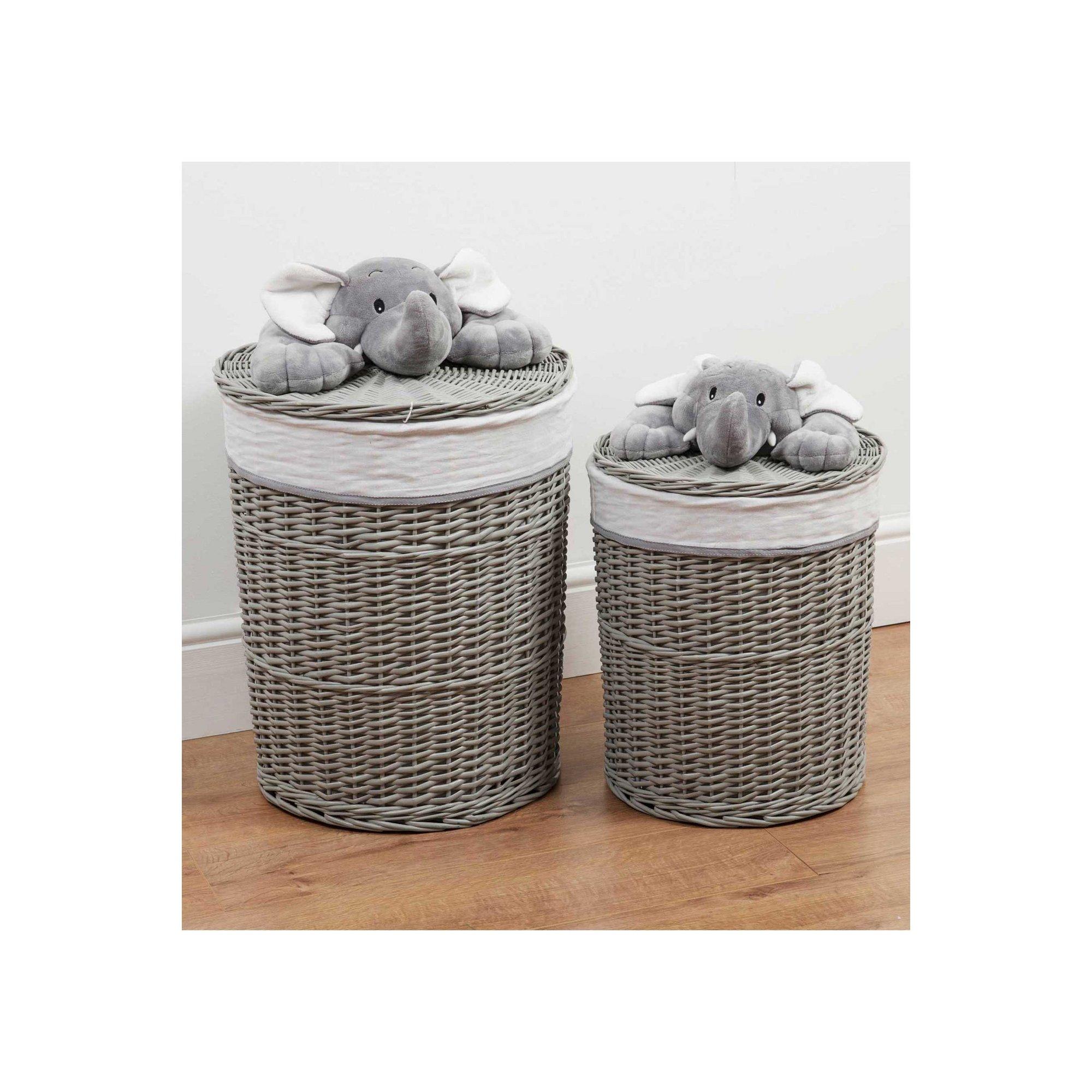 Image of Bambino Set of 2 Round Wicker Laundry Baskets Plush Elephant