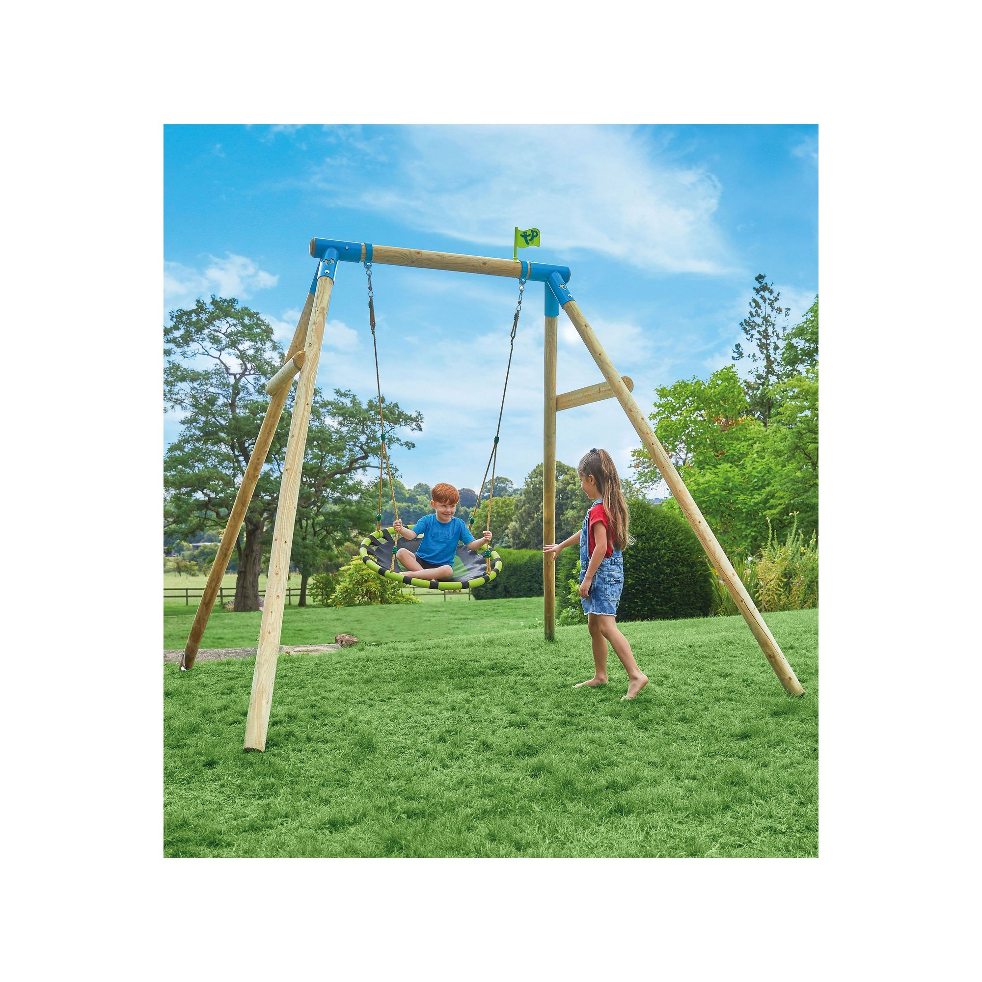 Image of TP Toys Eagle Wooden Swing Set with Large Nest Swing